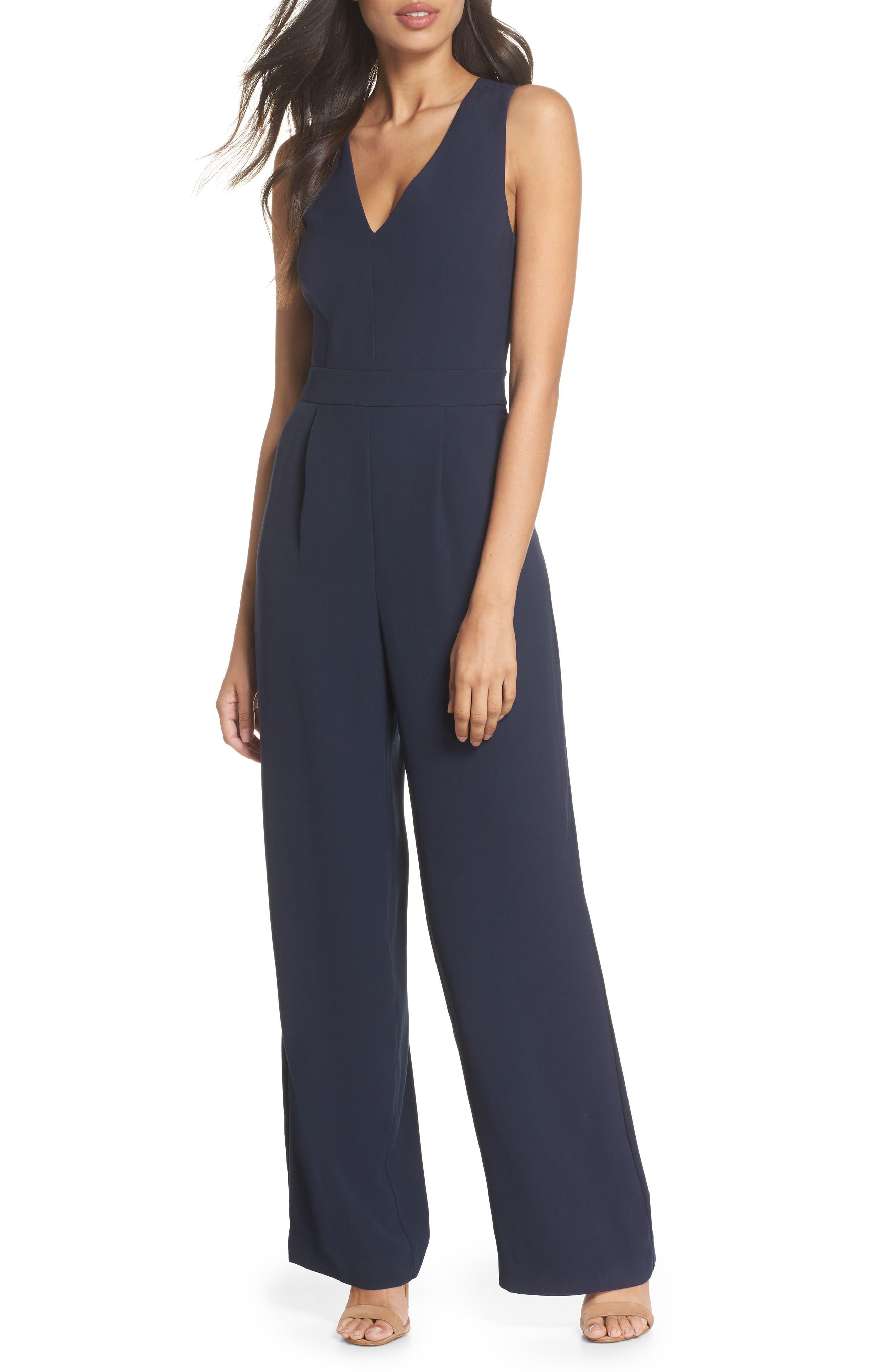 ELIZA J Cutout Back Jumpsuit, Main, color, 410