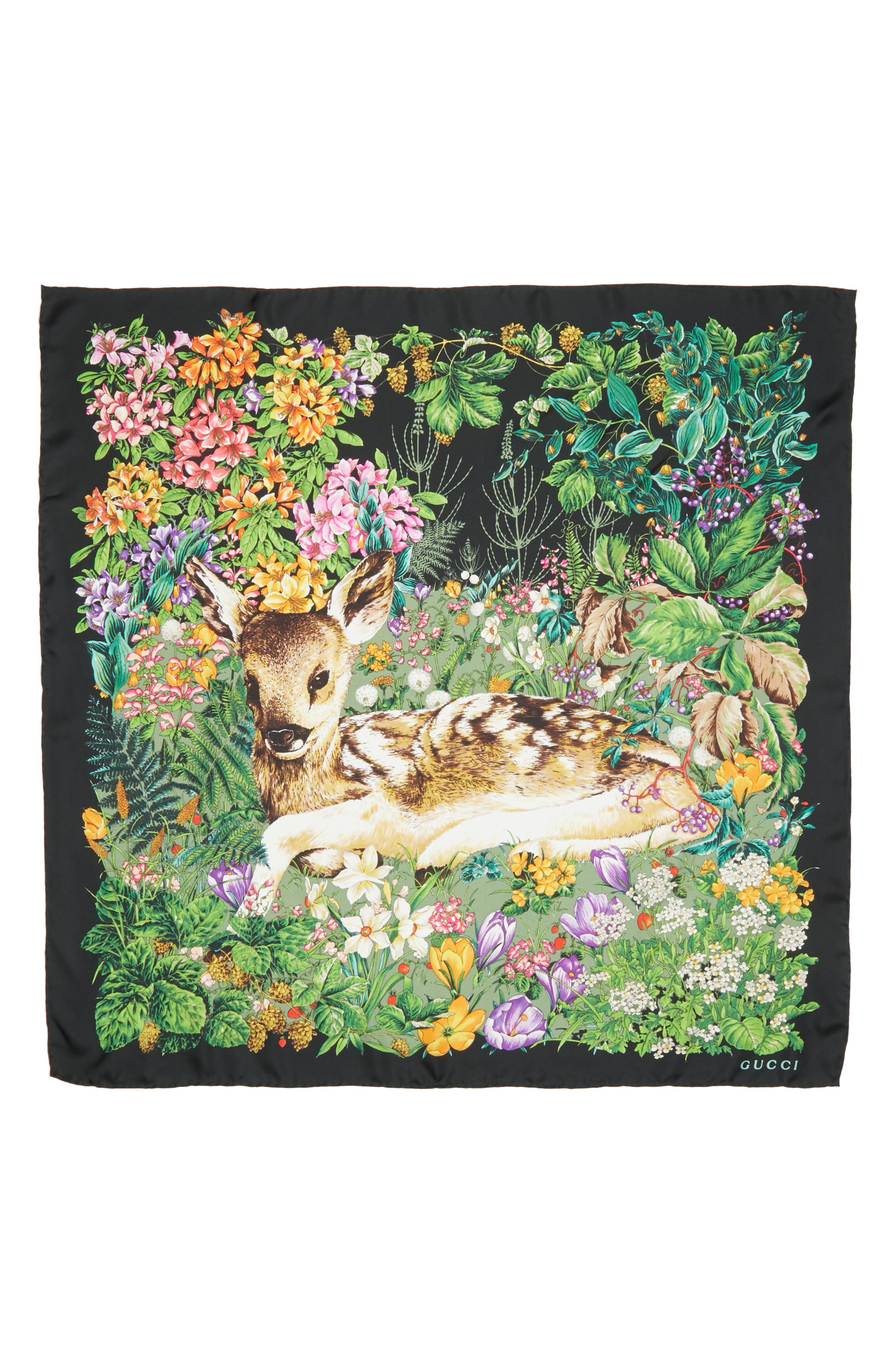 Flower Deer Foulard Silk Twill Scarf,                             Main thumbnail 1, color,                             BLACK/ MULTICOLOR