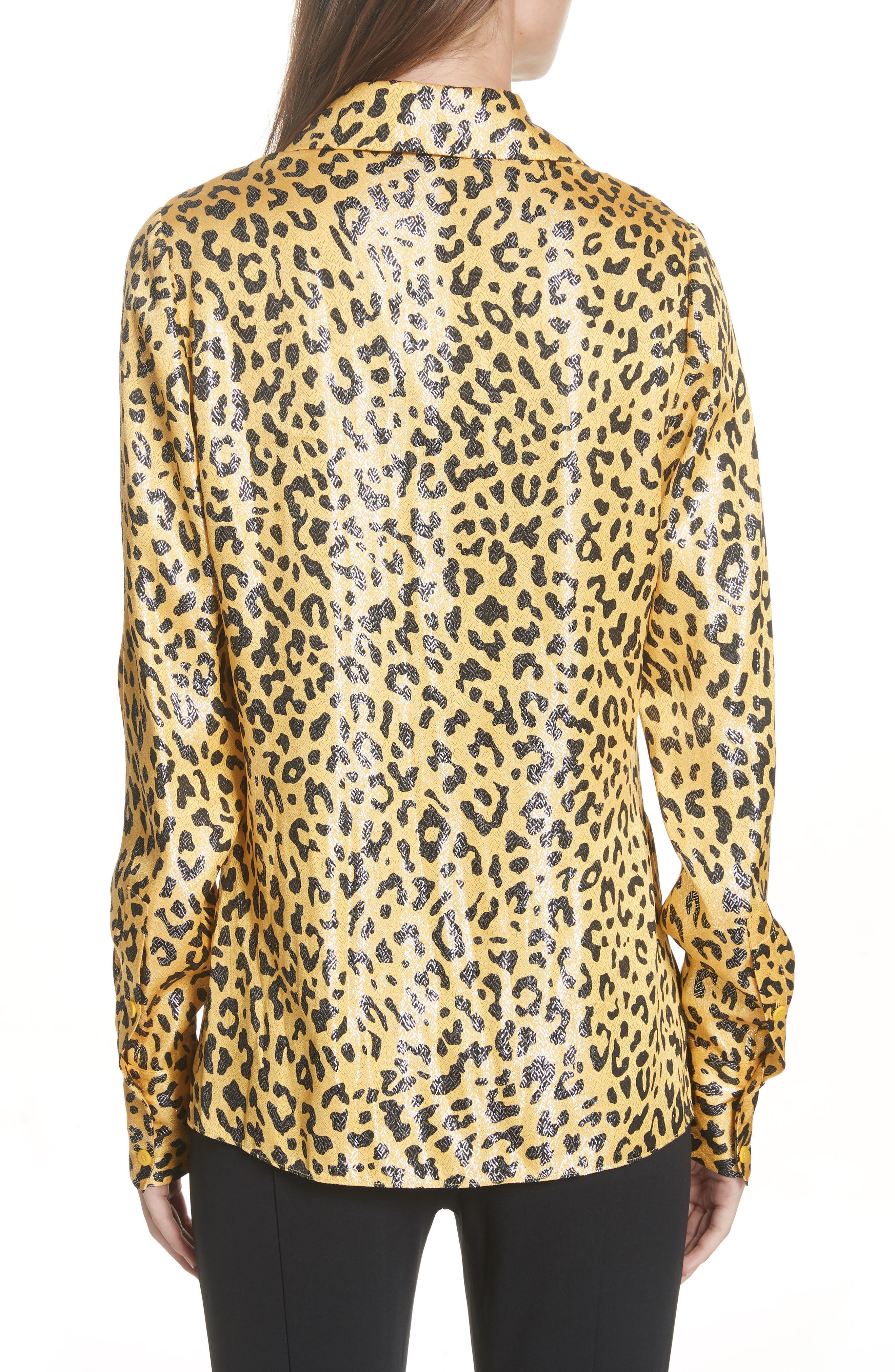 Leopard Print Silk & Metallic Shirt,                             Alternate thumbnail 2, color,                             HEYFORD GO
