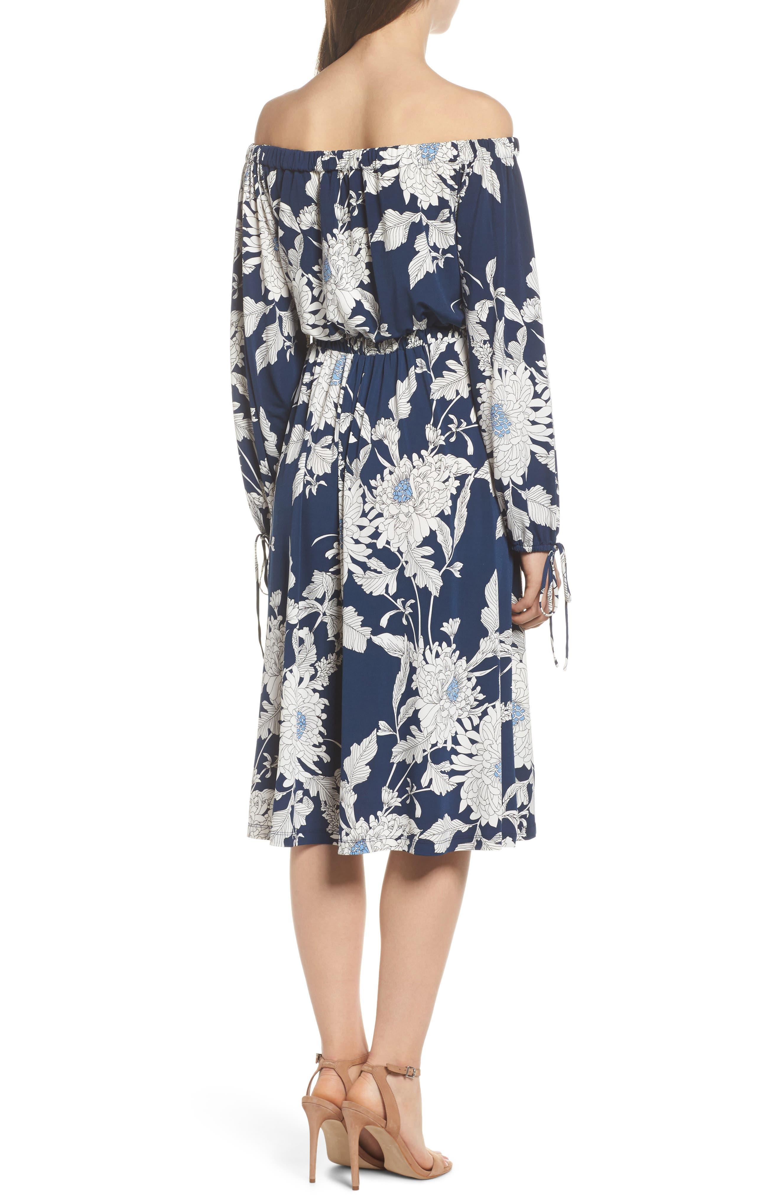 Print Jersey Off the Shoulder Blouson Dress,                             Alternate thumbnail 2, color,                             402