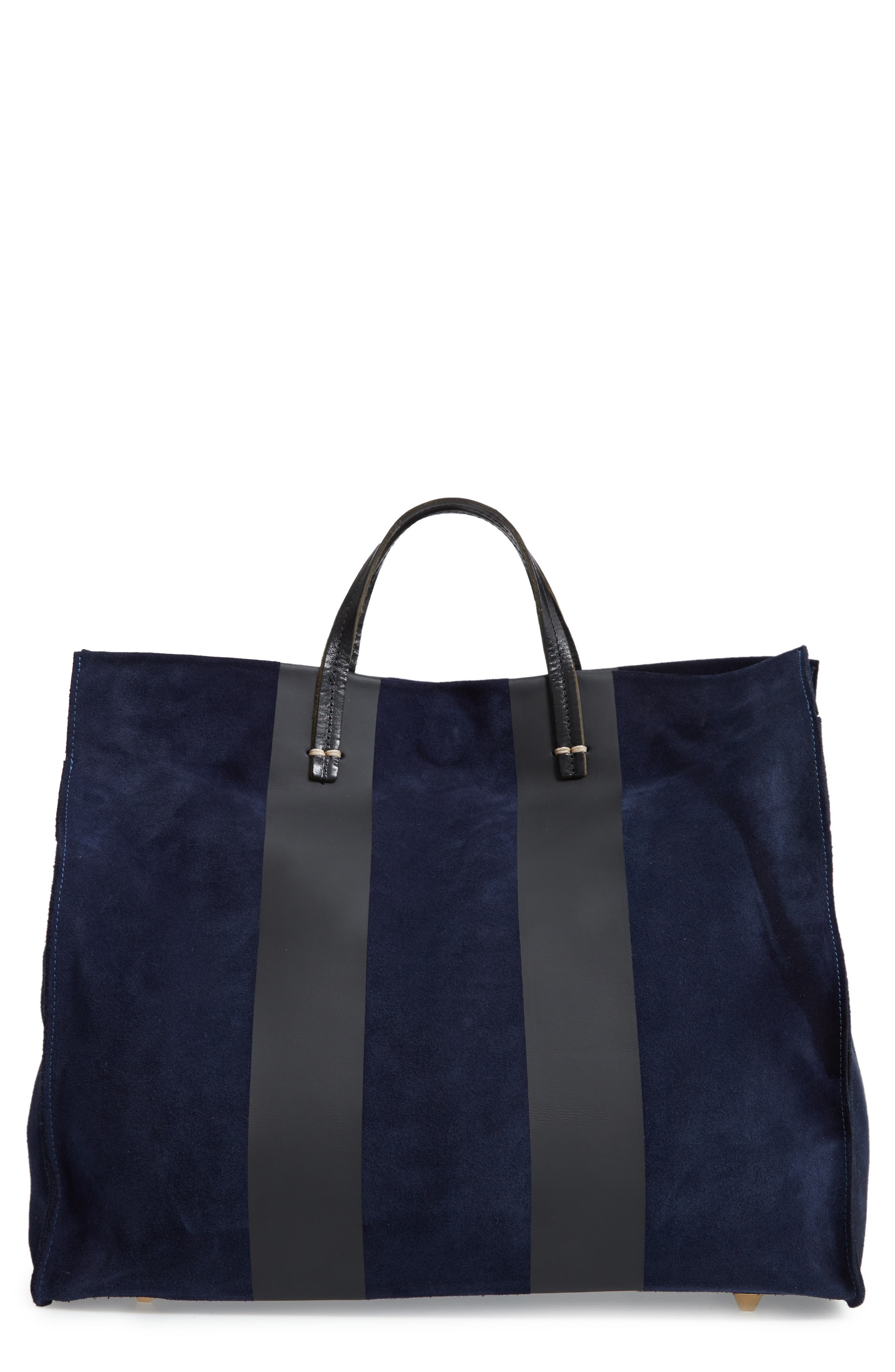 CLARE V Simple Stripe Leather Tote - Blue in Navy Suede Stripe