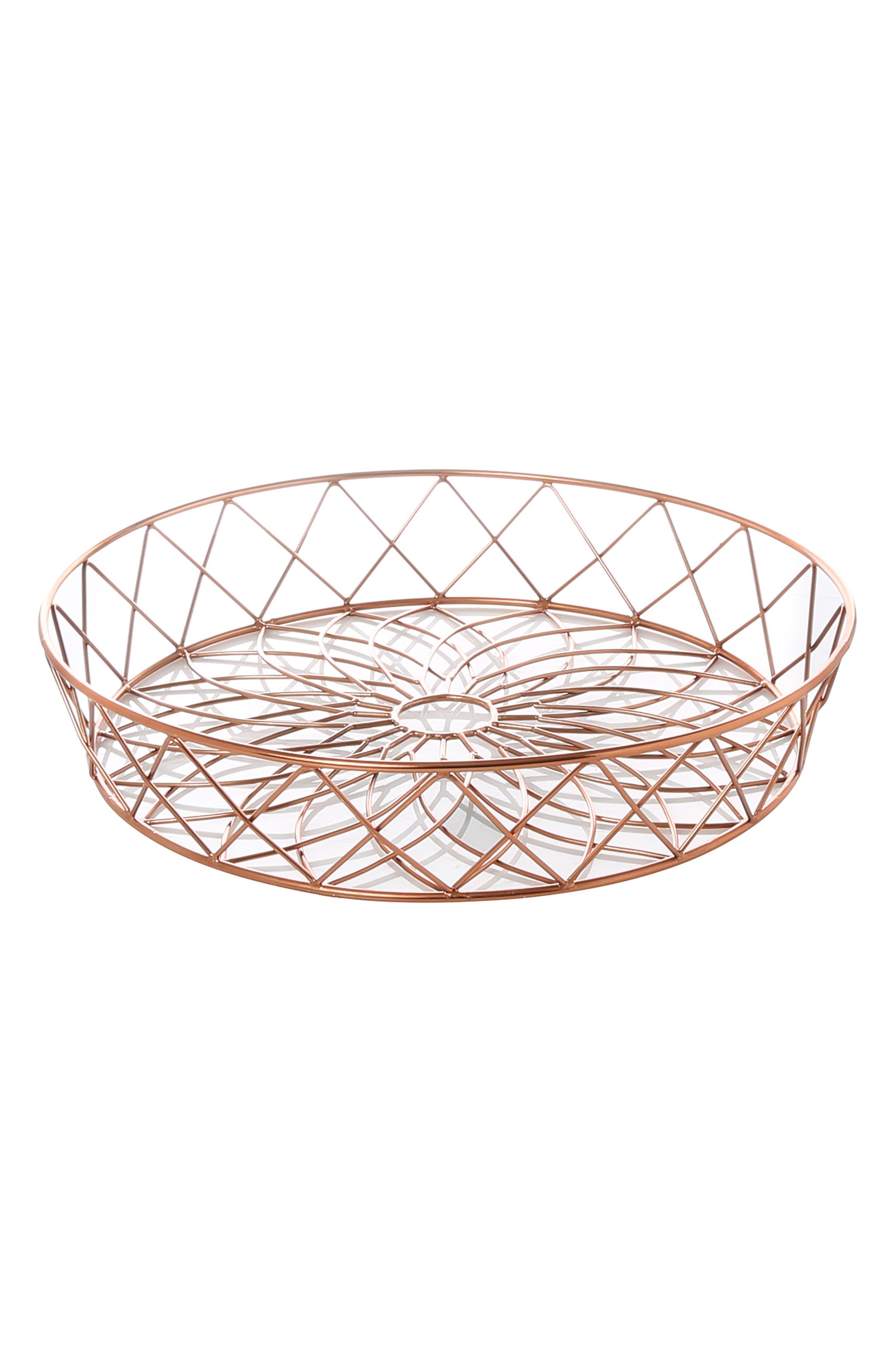 Copper Finish Wire Basket,                         Main,                         color, 220