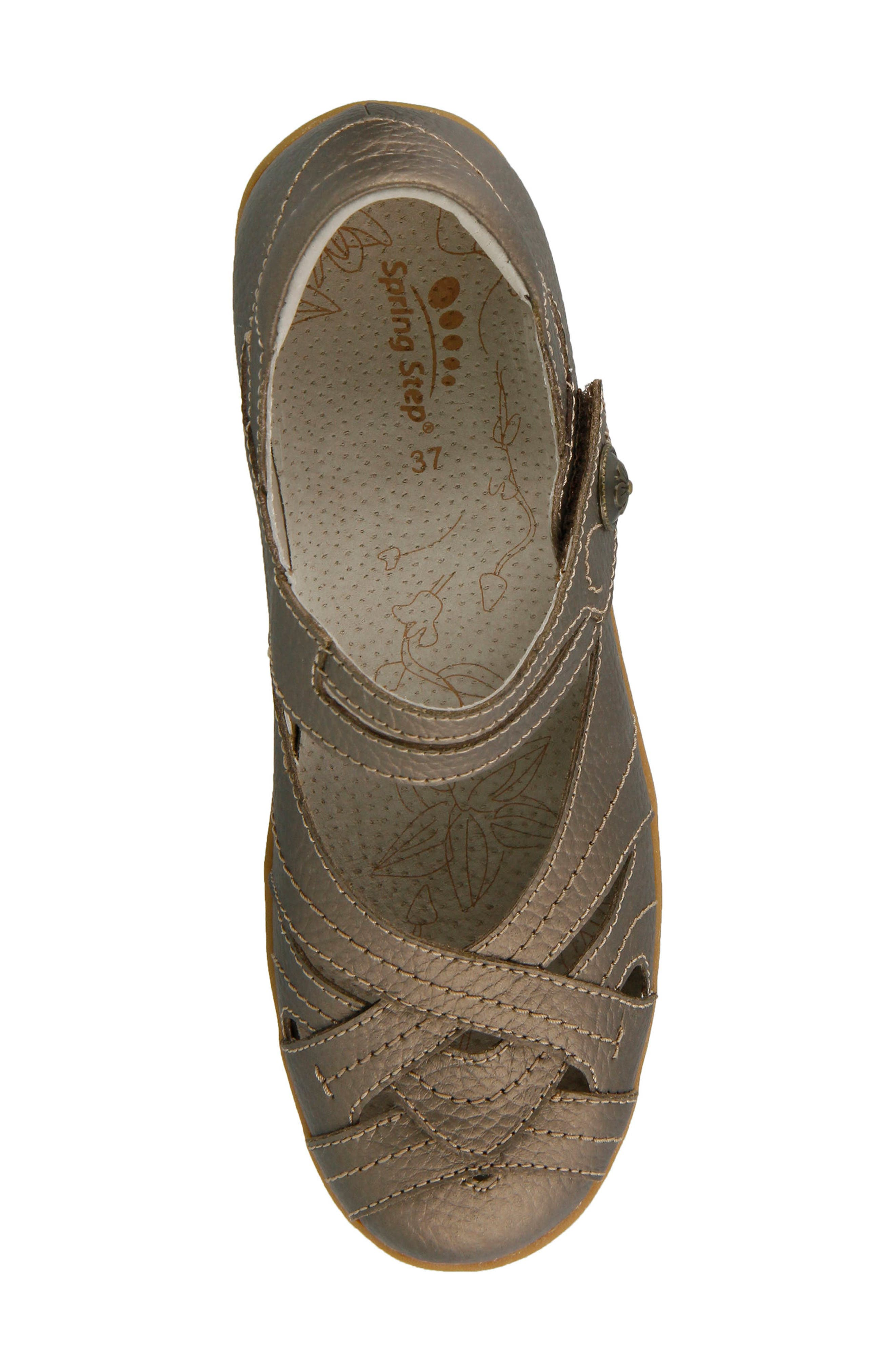 SPRING STEP,                             Hearts Flat,                             Alternate thumbnail 4, color,                             BRONZE LEATHER