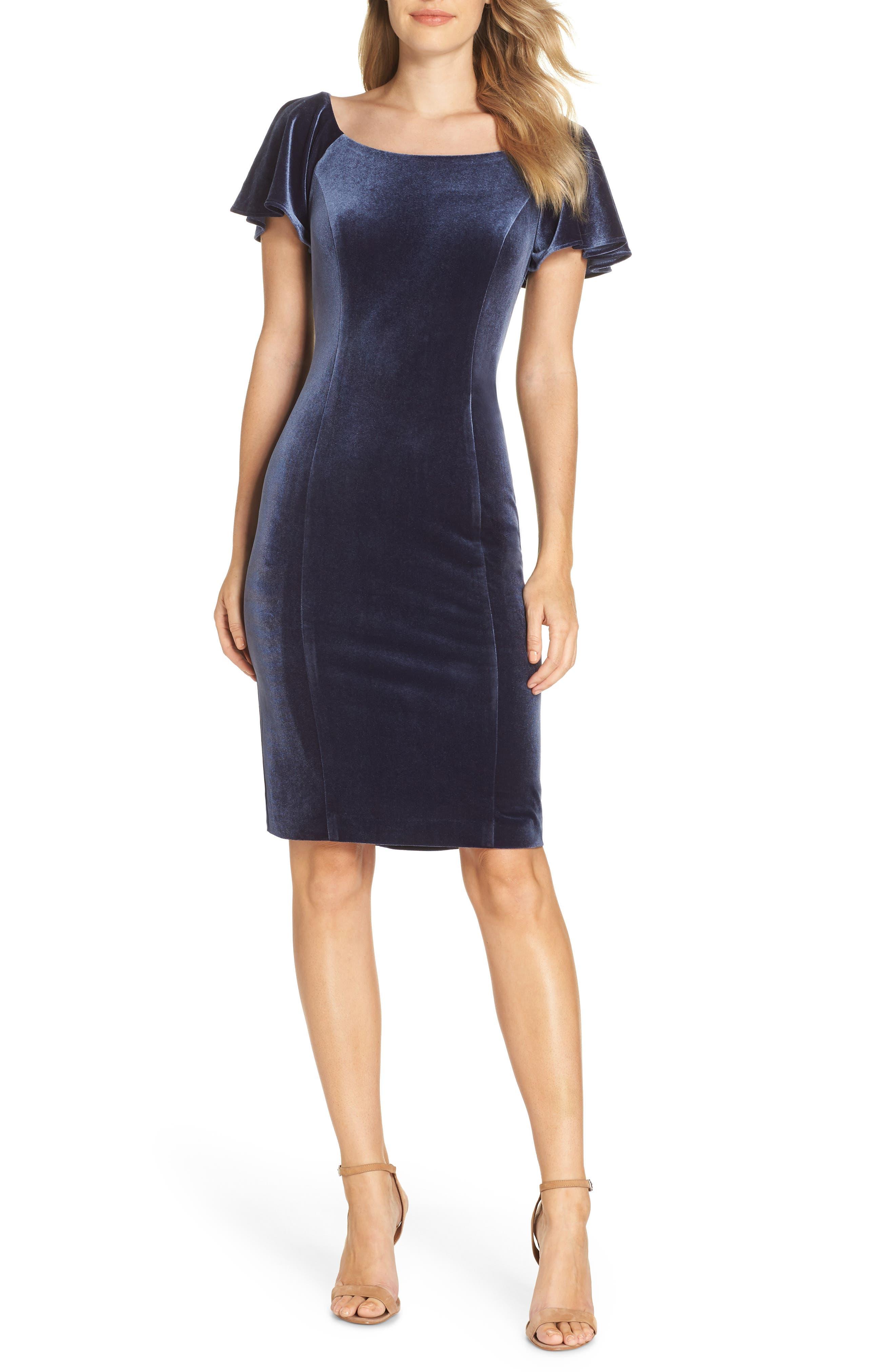 Petite Eliza J Scoop Neck Flutter Sleeve Velvet Sheath Dress, Blue