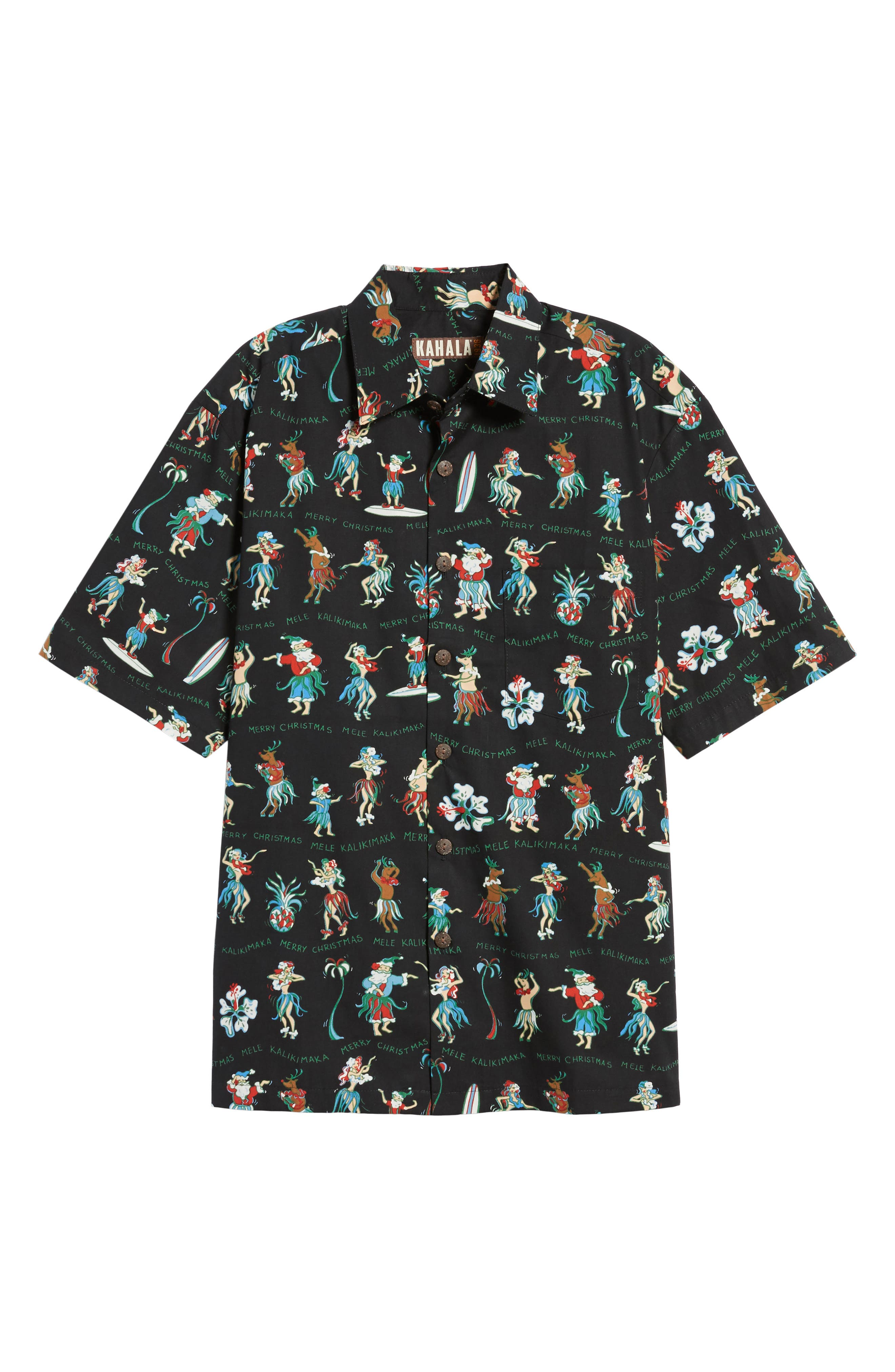 Kalikimaka Classic Fit Print Camp Shirt,                             Alternate thumbnail 6, color,                             001