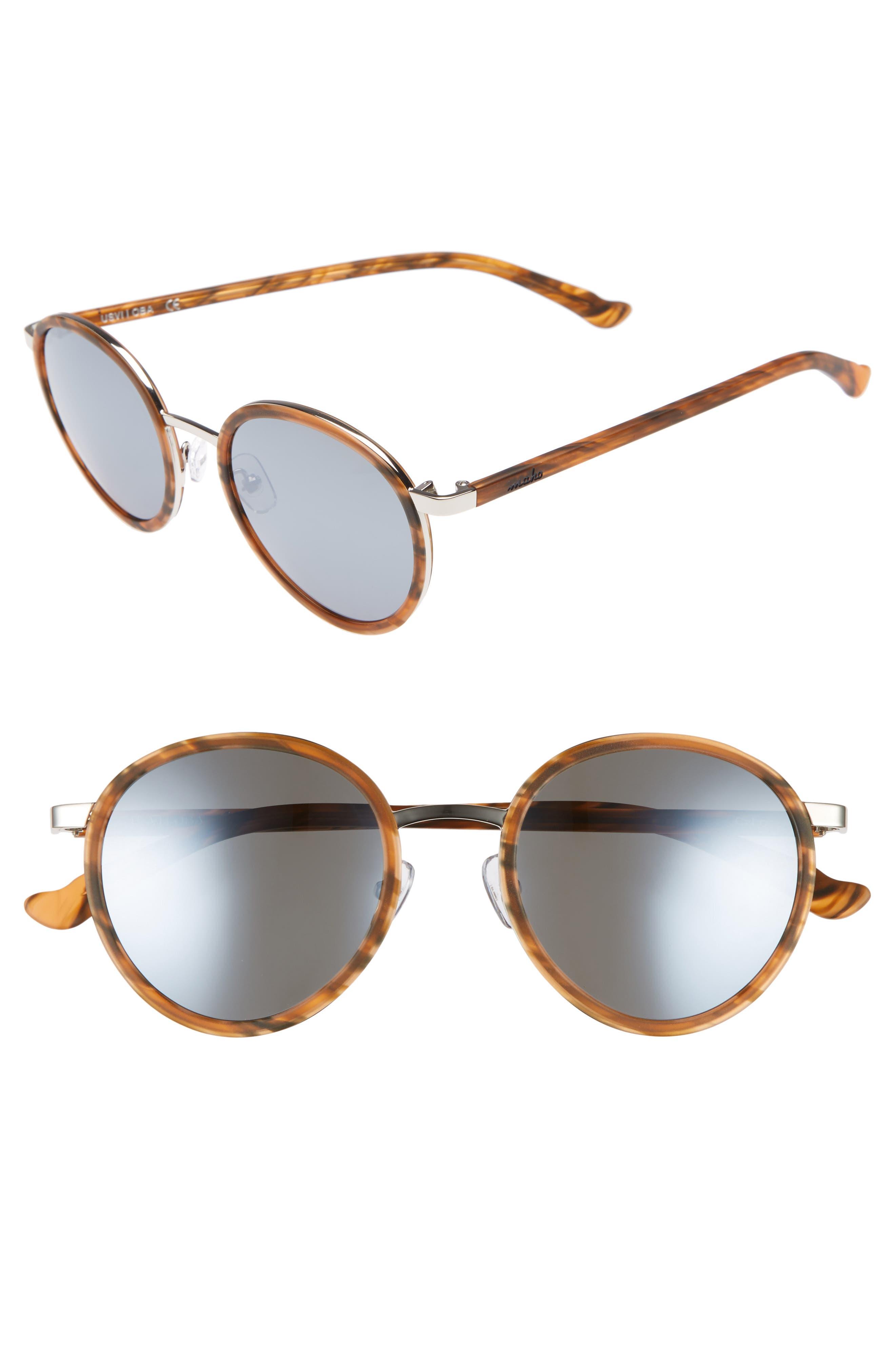 Cabo 50mm Polarized Round Sunglasses,                             Main thumbnail 3, color,