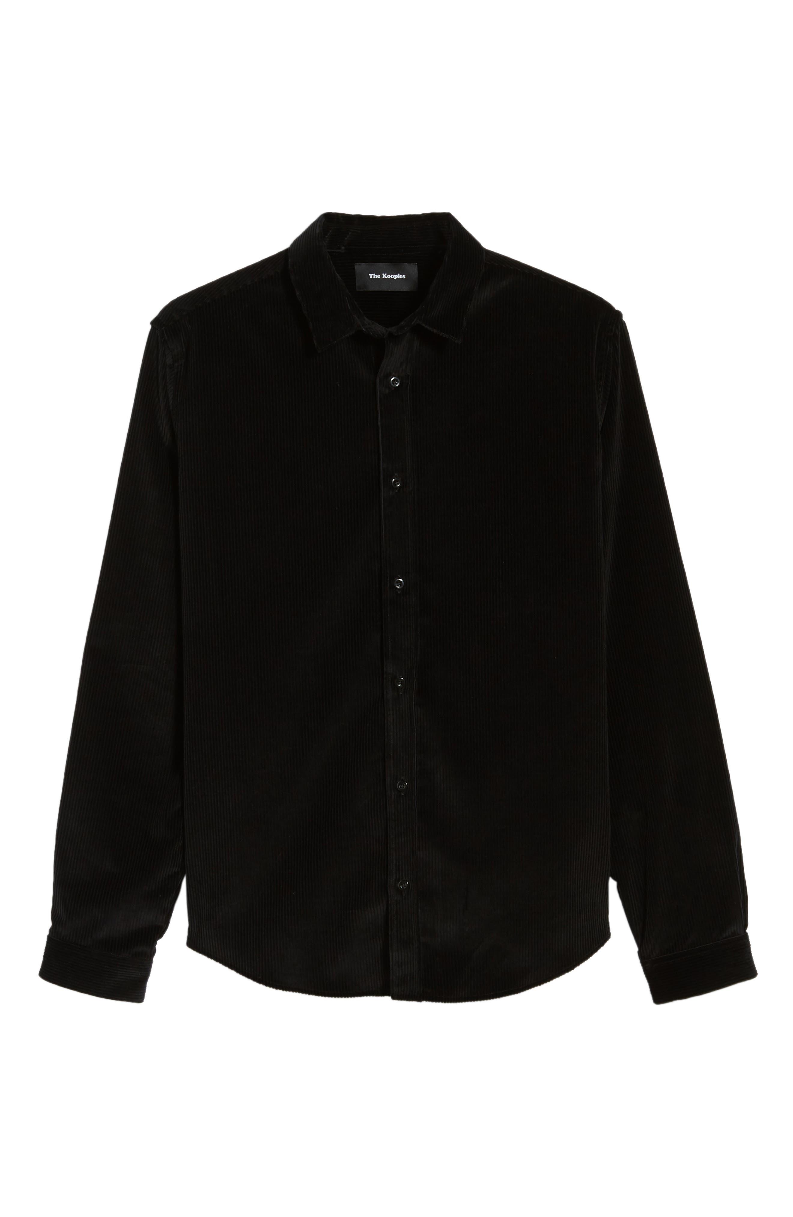 THE KOOPLES,                             Regular Fit Corduroy Shirt,                             Alternate thumbnail 5, color,                             001