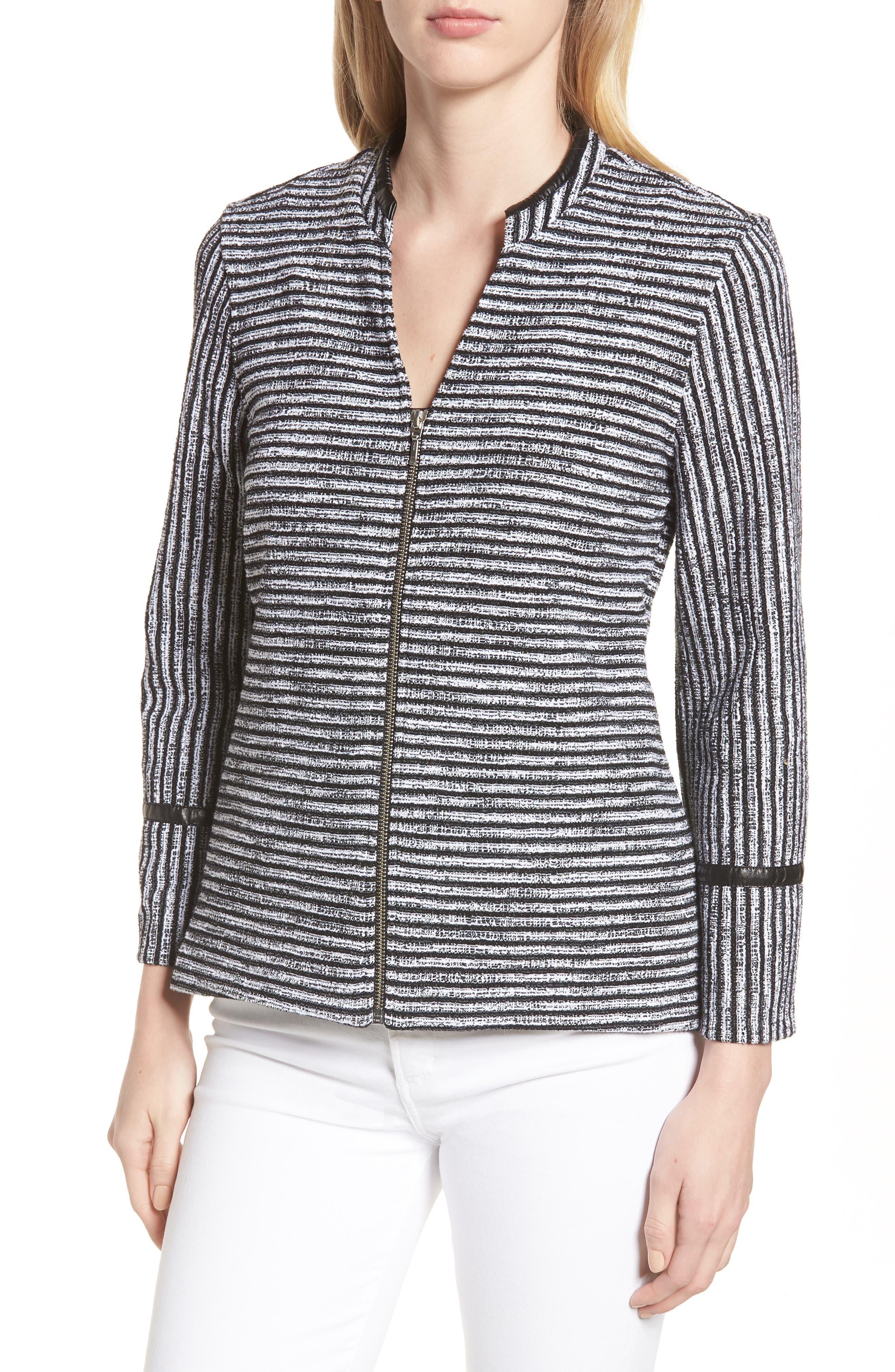 Irina Stripe Knit Jacket,                             Alternate thumbnail 4, color,                             004