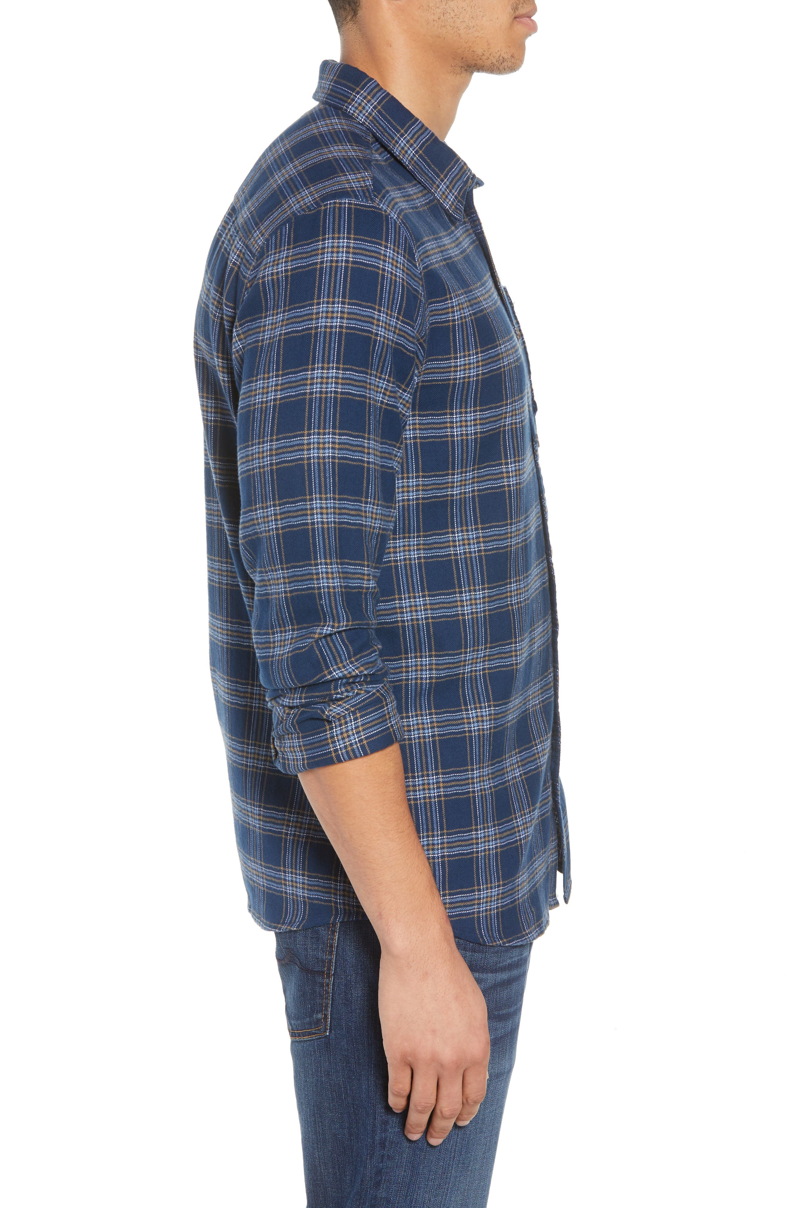 Redmond Flannel Shirt,                             Alternate thumbnail 3, color,                             NAVY