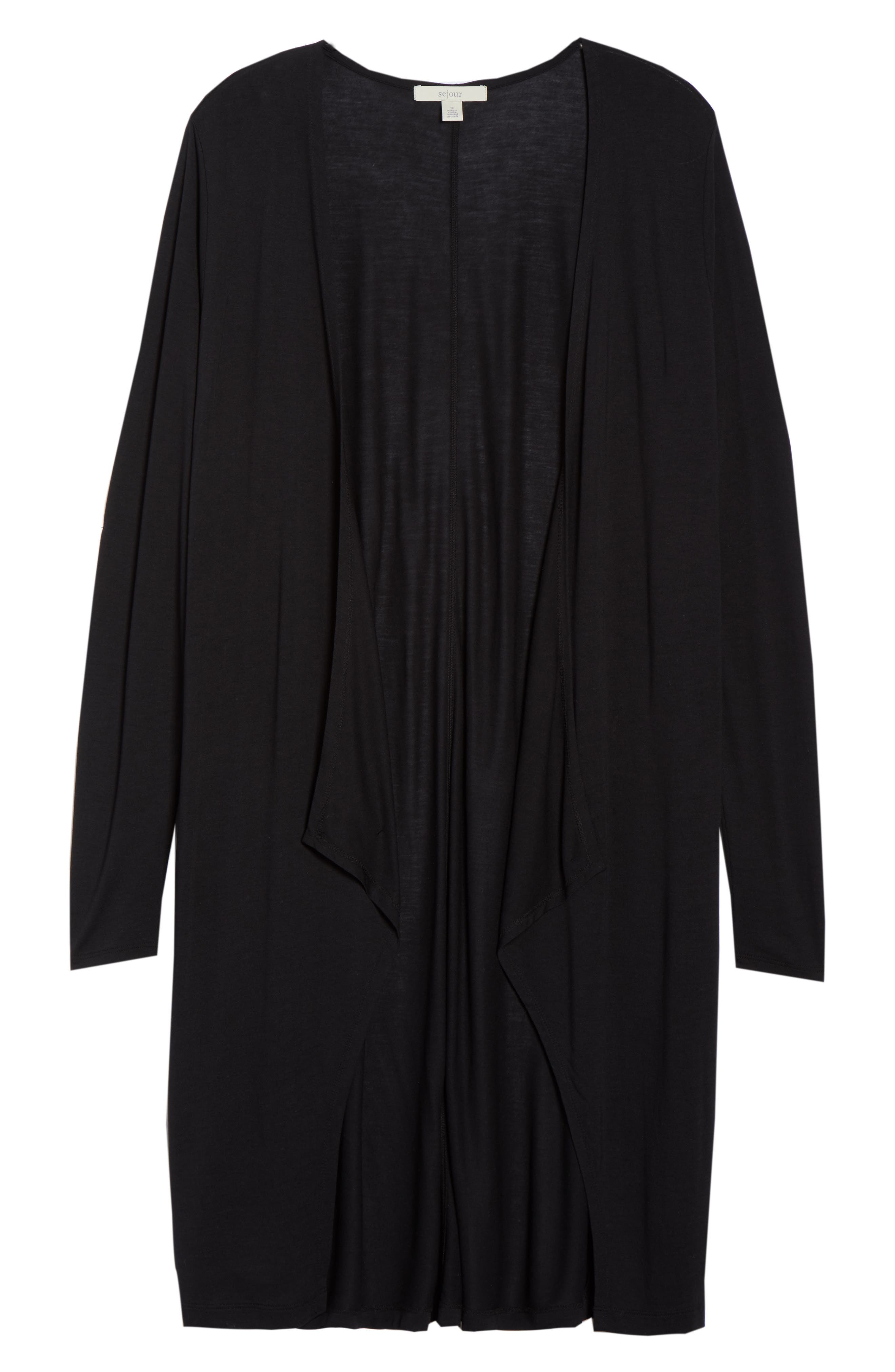 Longline Jersey Cardigan,                             Alternate thumbnail 6, color,                             001