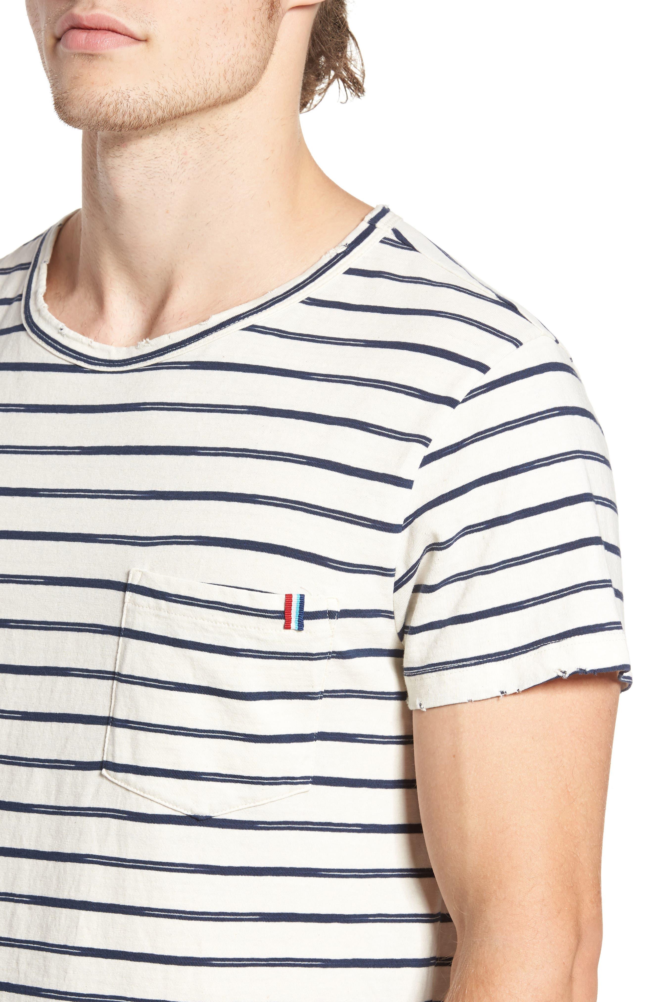 Vintage Stripe Pocket T-Shirt,                             Alternate thumbnail 4, color,                             101