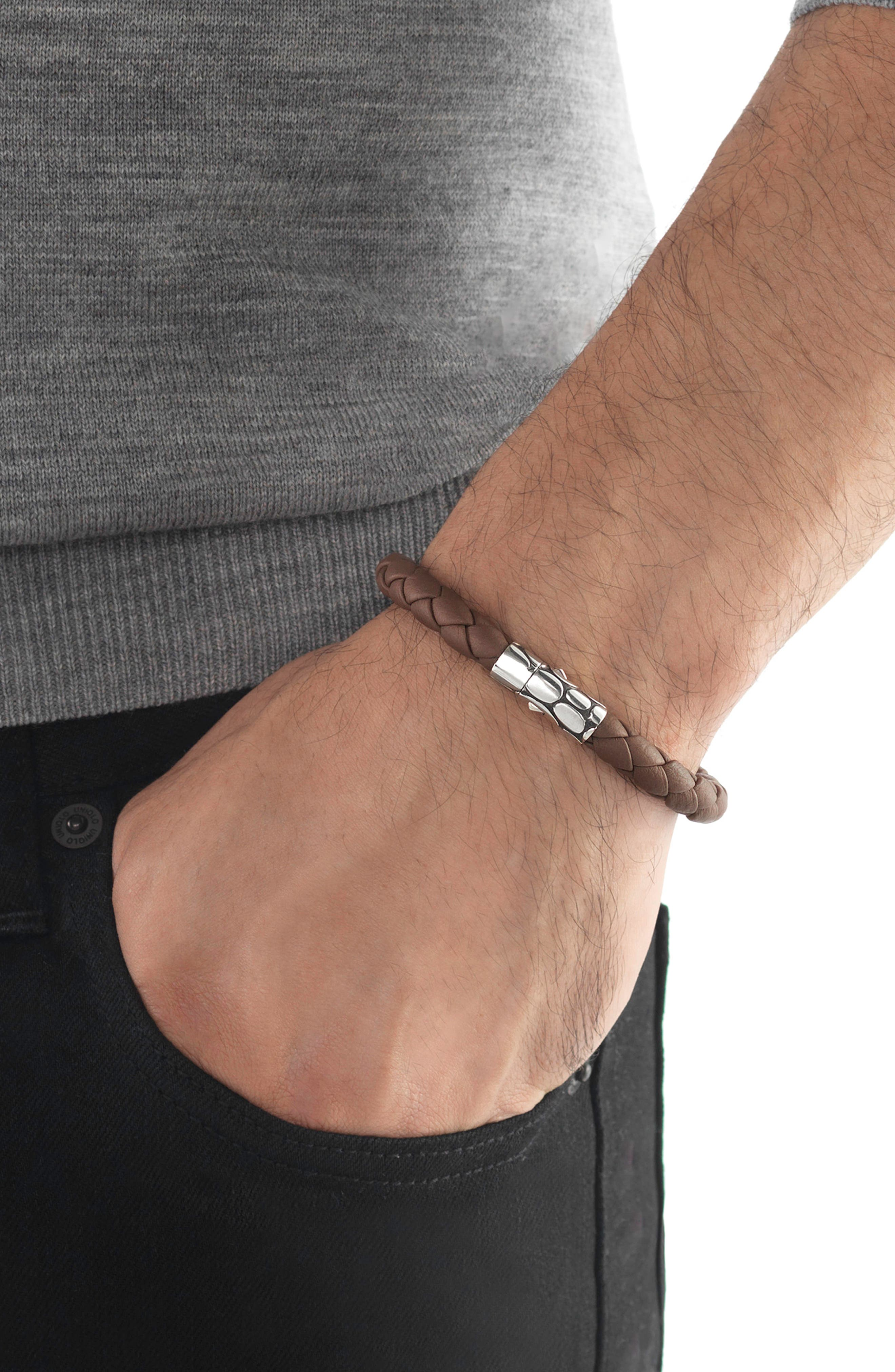 'Kali' Leather Bracelet,                             Alternate thumbnail 2, color,                             SILVER/ BROWN