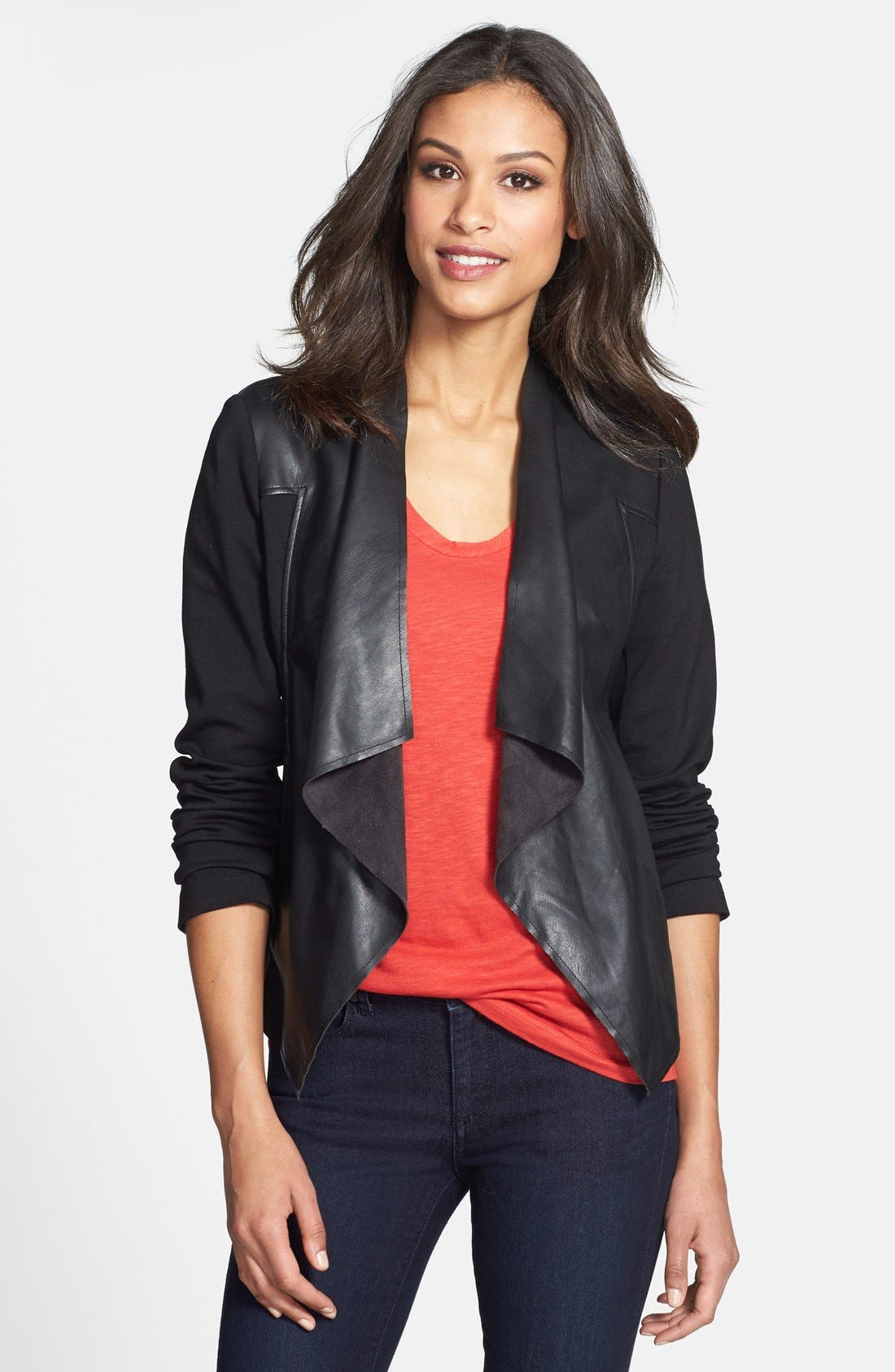 'Lincoln' Faux Leather Drape Front Jacket,                             Main thumbnail 1, color,                             002
