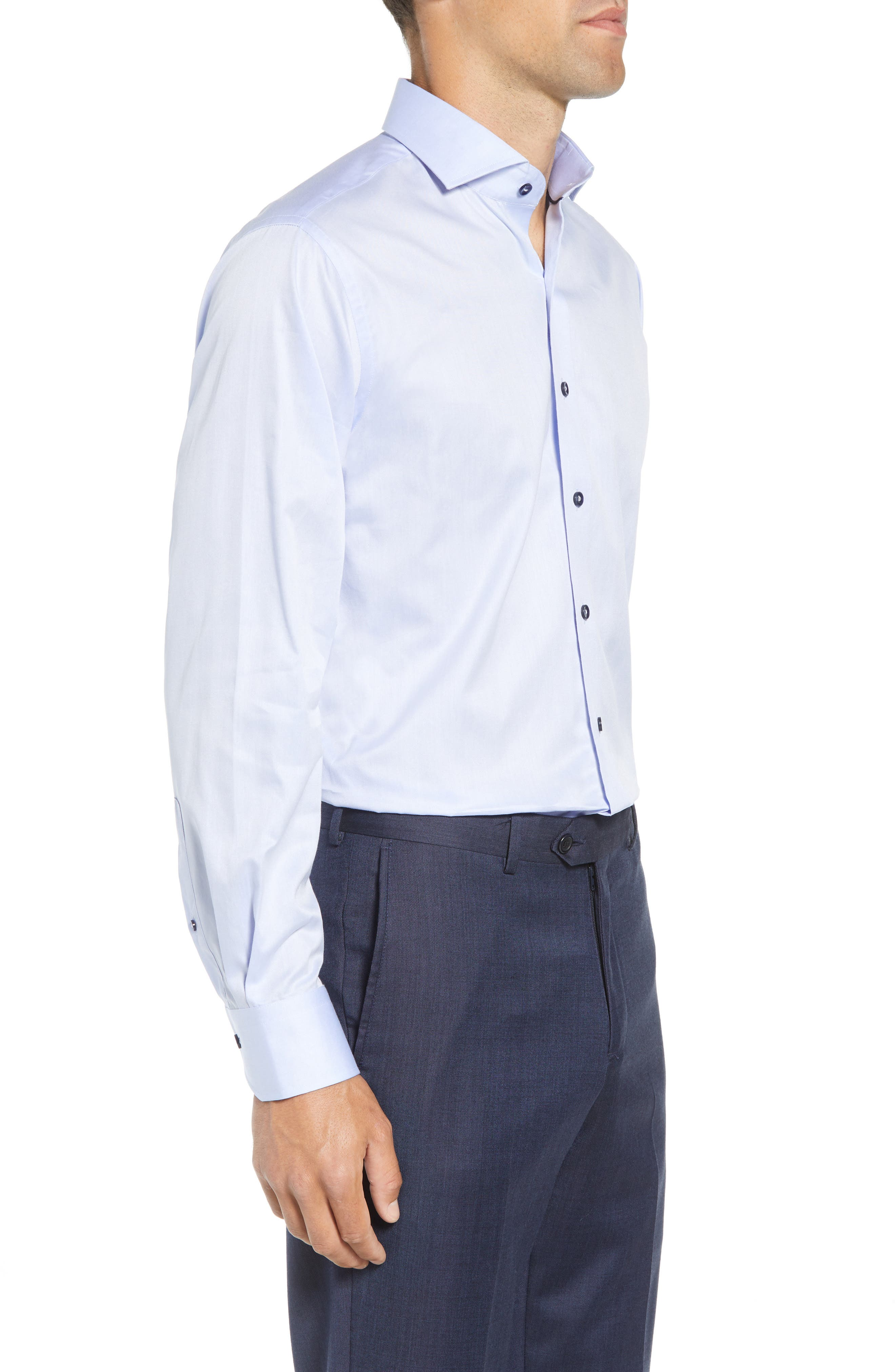 LORENZO UOMO,                             Trim Fit Solid Dress Shirt,                             Alternate thumbnail 4, color,                             LIGHT BLUE