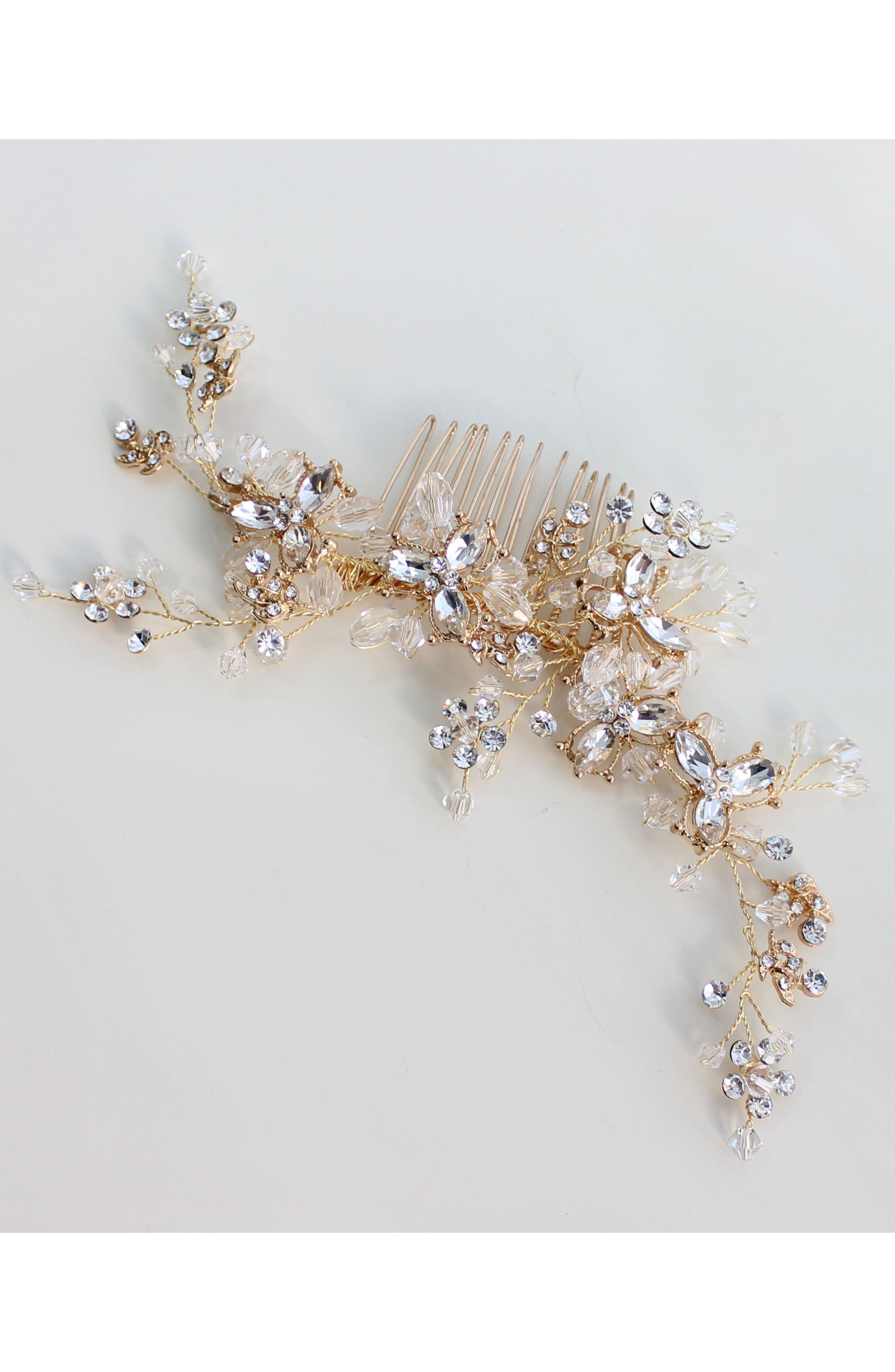 Adele Crystal & Imitation Pearl Hair Comb,                             Main thumbnail 1, color,