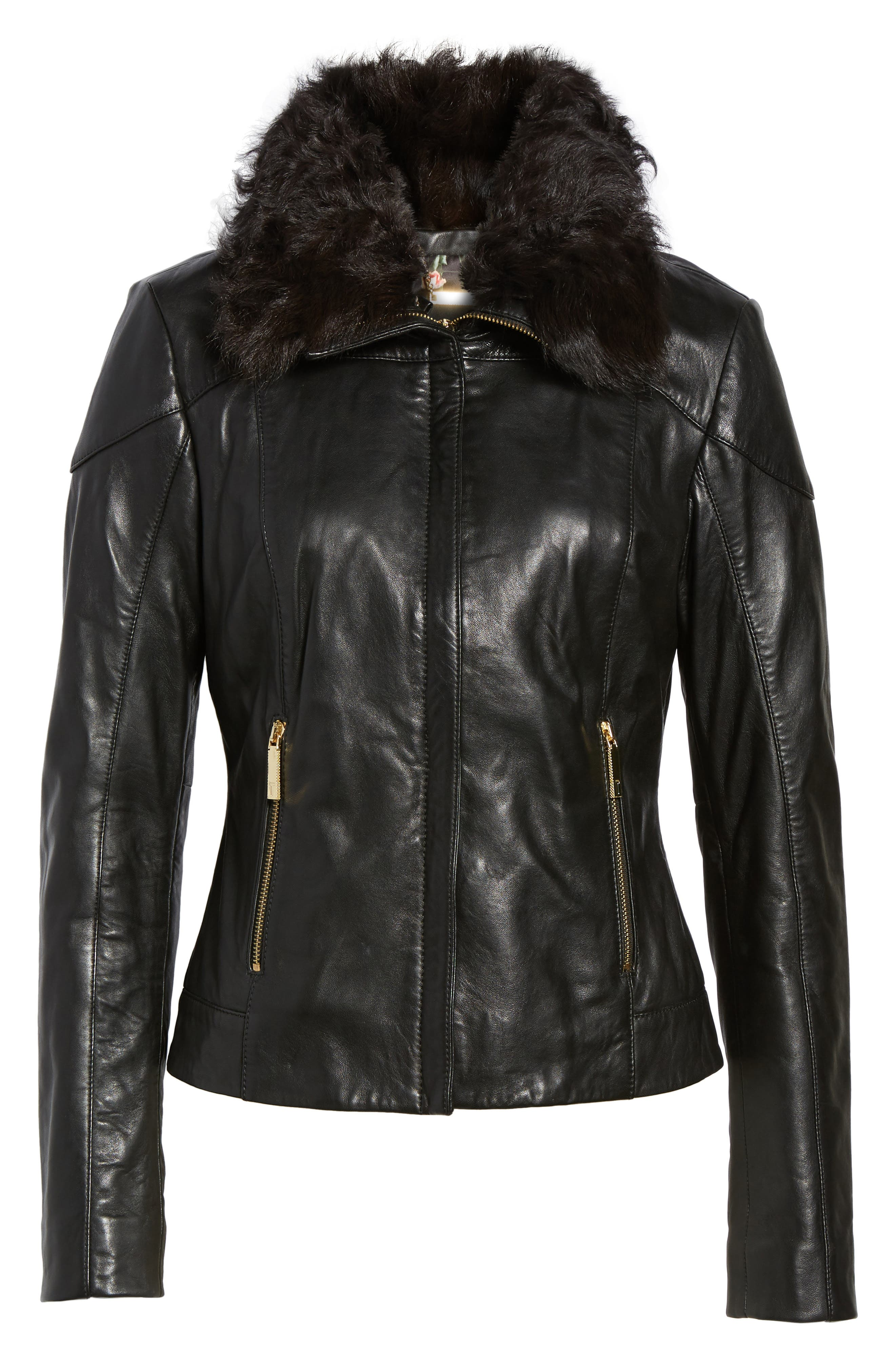 Leather Jacket with Detachable Genuine Shearling,                             Alternate thumbnail 5, color,                             001