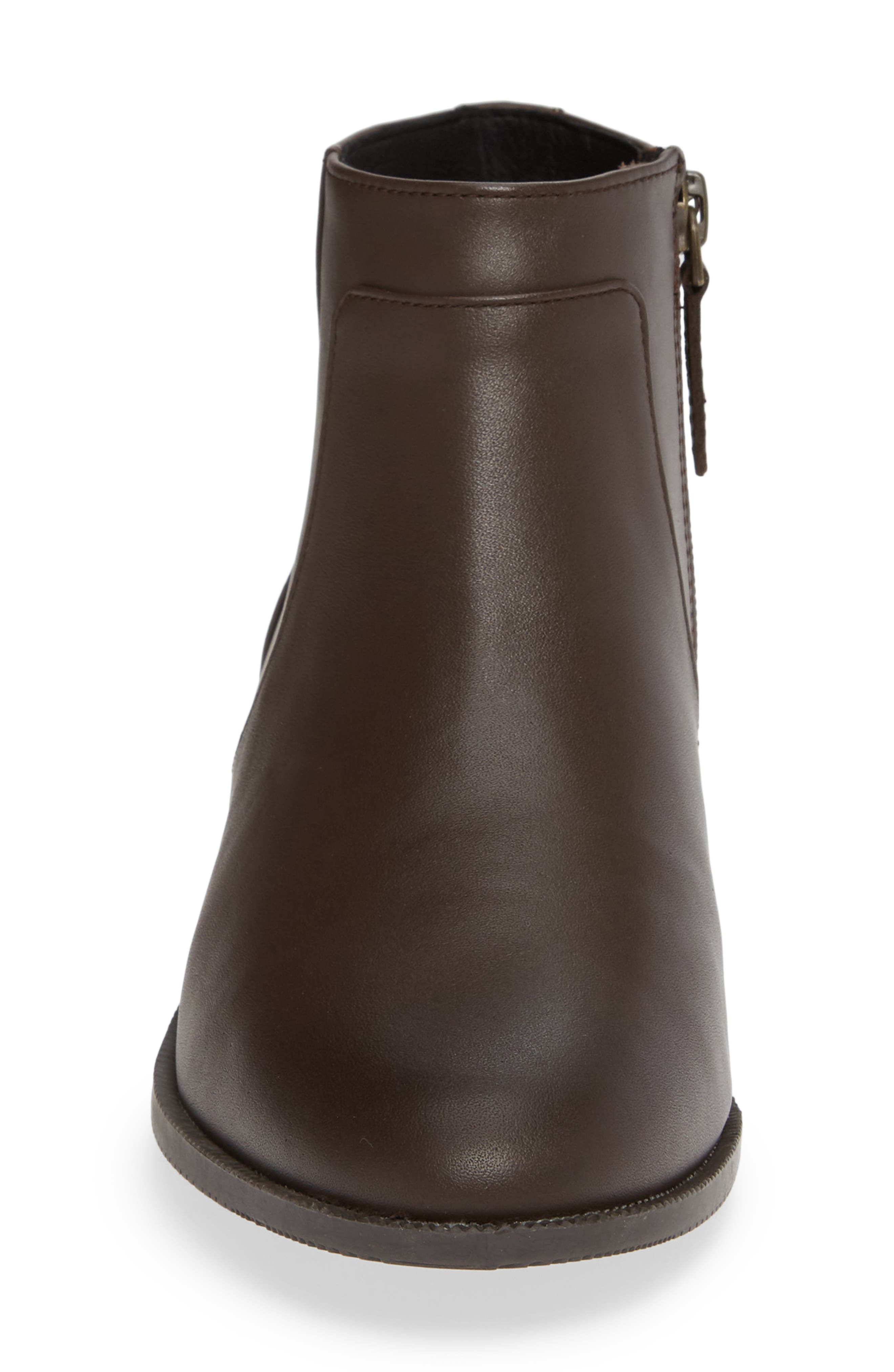 Benette Water Resistant Bootie,                             Alternate thumbnail 4, color,                             CHOCOLATE LEATHER