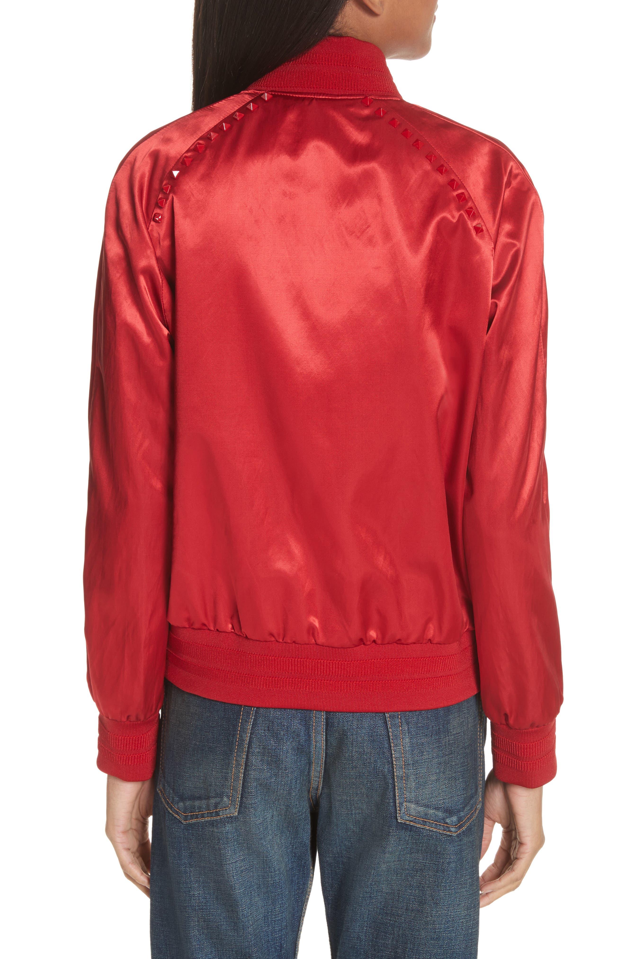 Rockstud Satin Bomber Jacket,                             Alternate thumbnail 2, color,                             RED