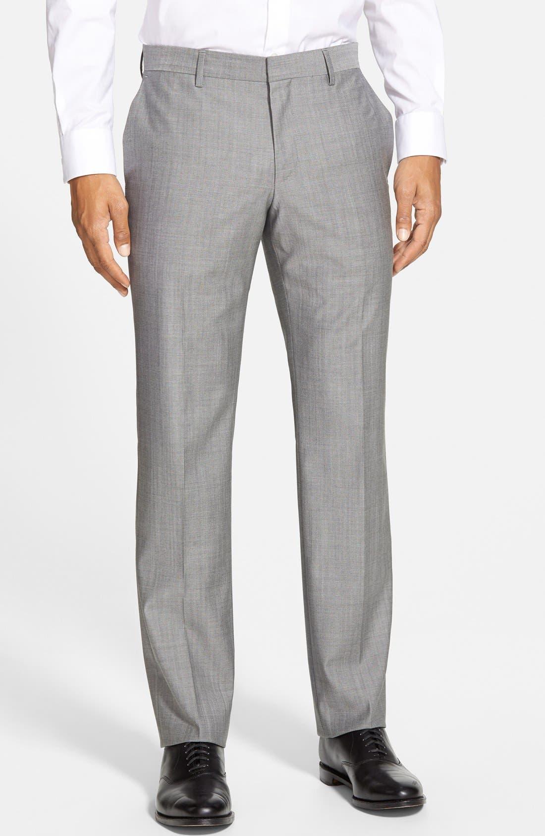 'Huge/Genius' Trim Fit Solid Wool Suit,                             Alternate thumbnail 12, color,                             PEARL GREY