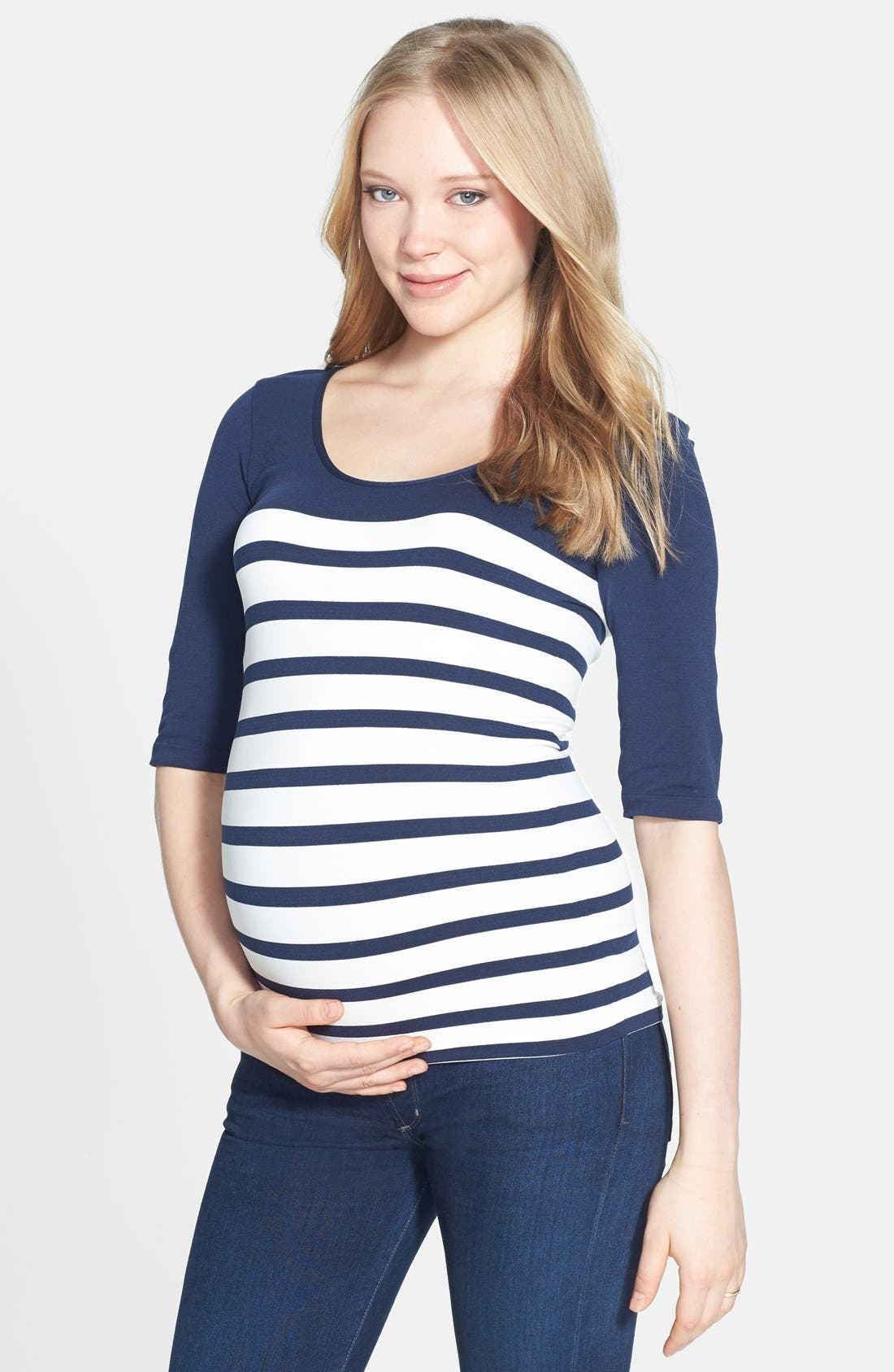 'St. Barts' Ballet Sleeve Maternity Top,                             Main thumbnail 1, color,                             NAVY/ WHITE