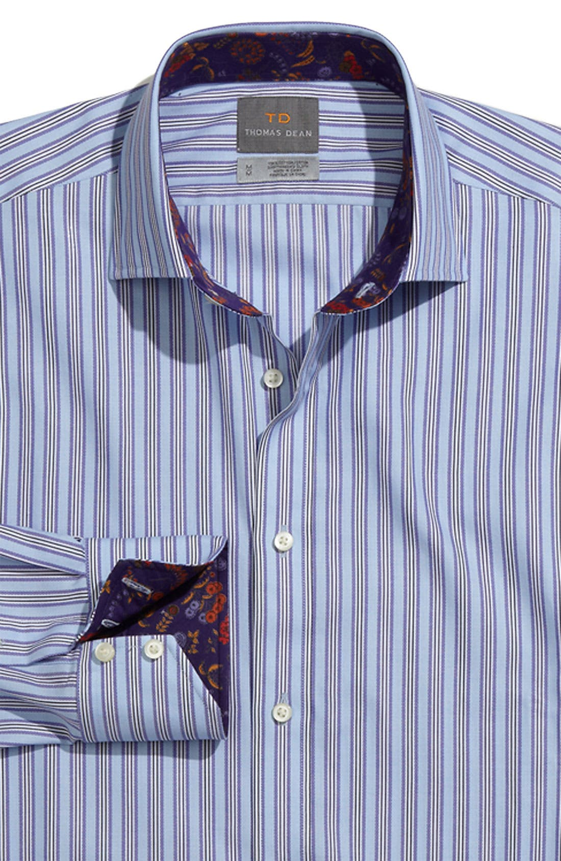 THOMAS DEAN,                             'Multi Bar Stripe' Sport Shirt,                             Main thumbnail 1, color,                             530