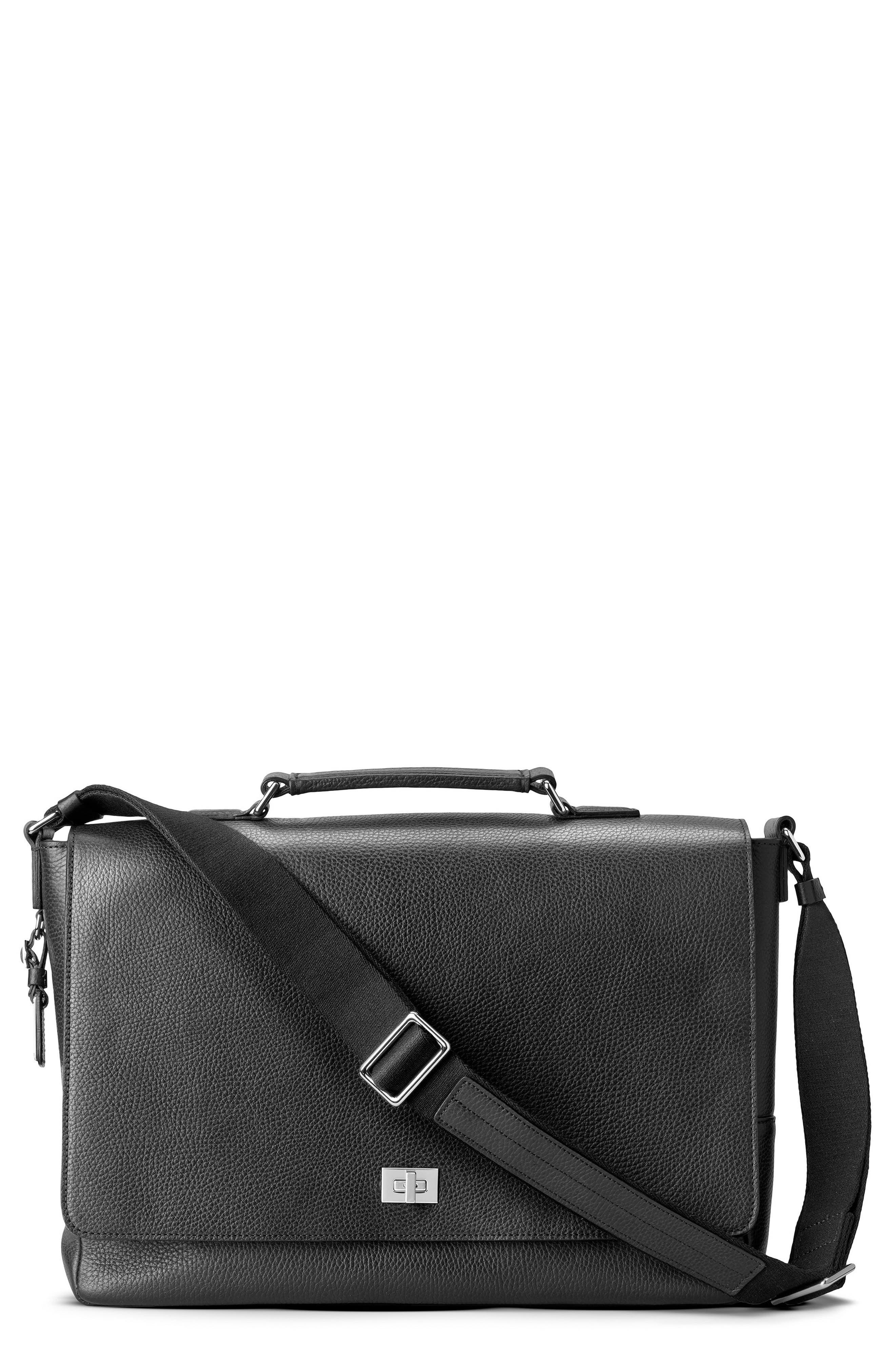 Leather Messenger Bag,                         Main,                         color, BLACK