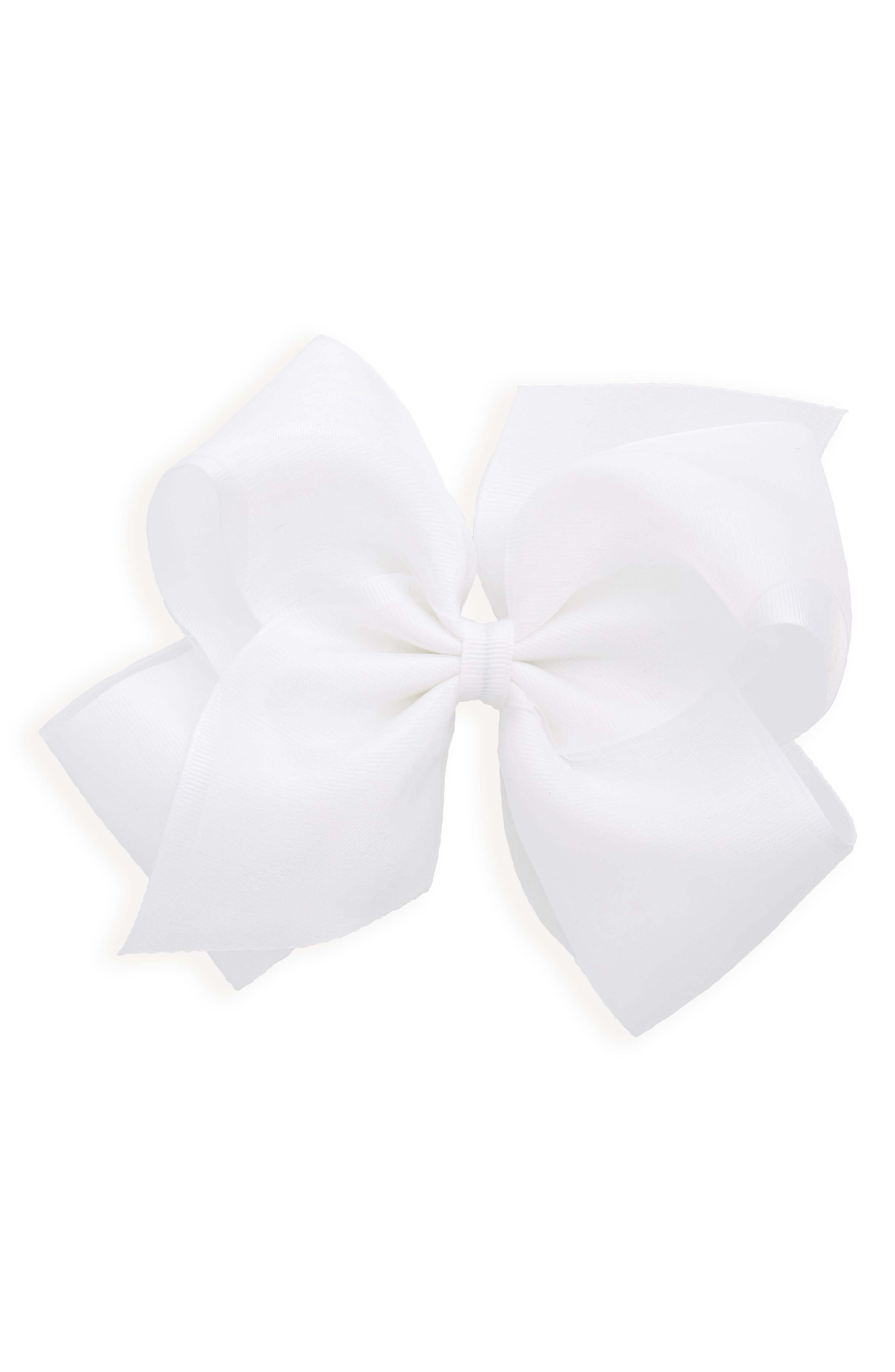 King Organza Overlay Bow Hair Clip,                         Main,                         color, WHITE