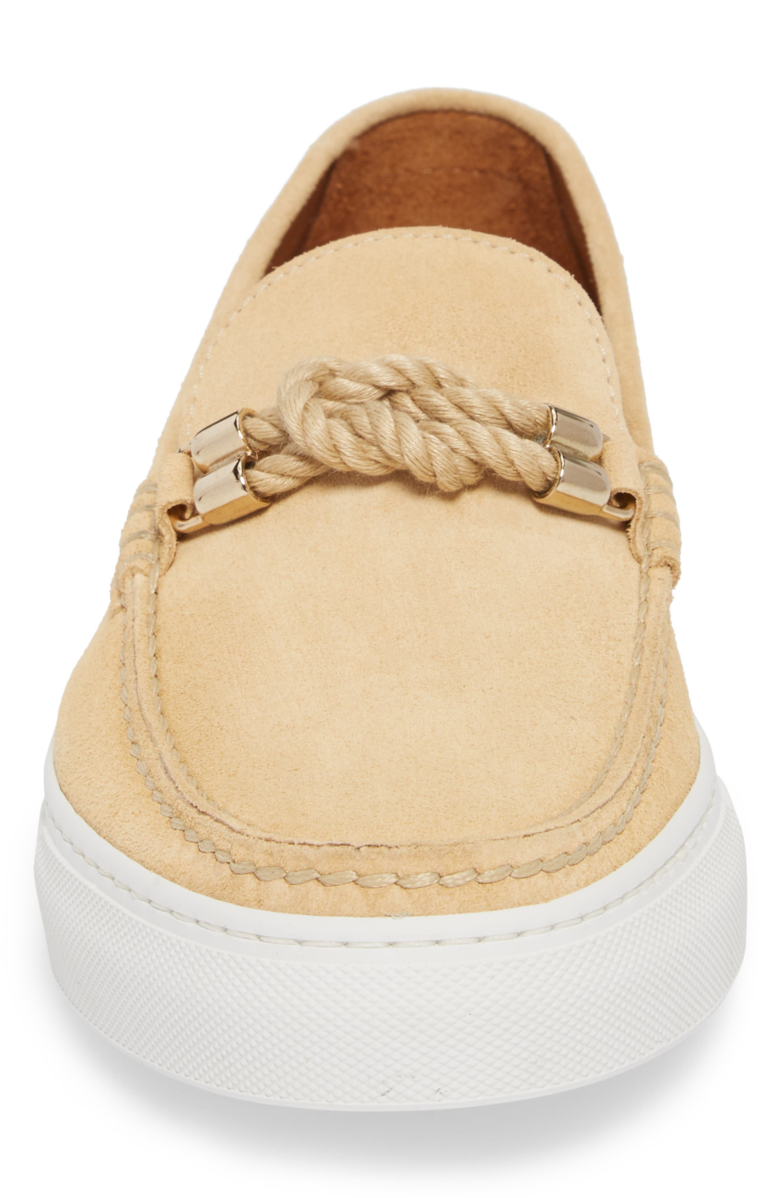 Bitton Square Knot Loafer,                             Alternate thumbnail 4, color,                             BEIGE SUEDE