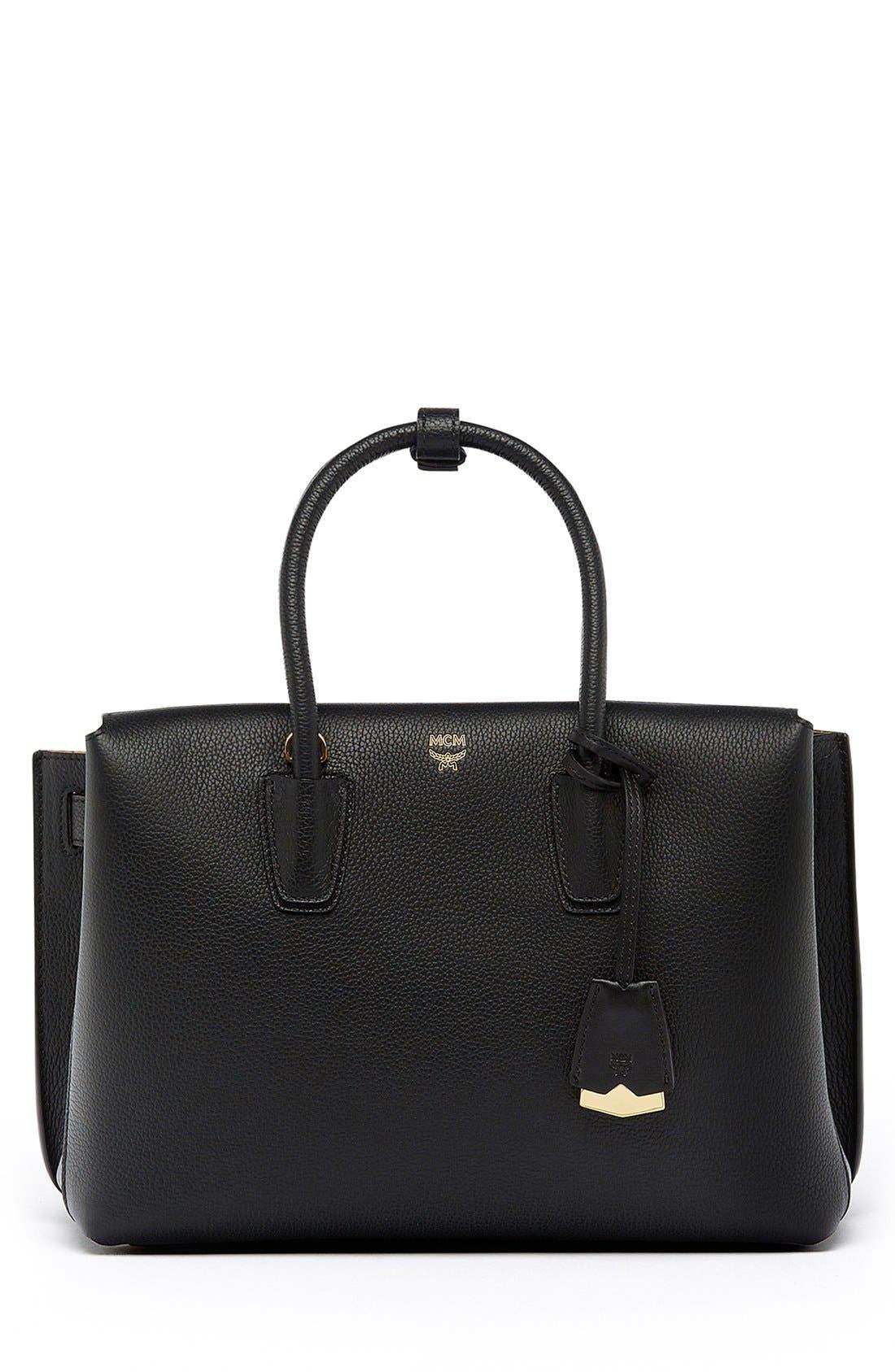 Medium Milla Leather Tote,                         Main,                         color, BLACK