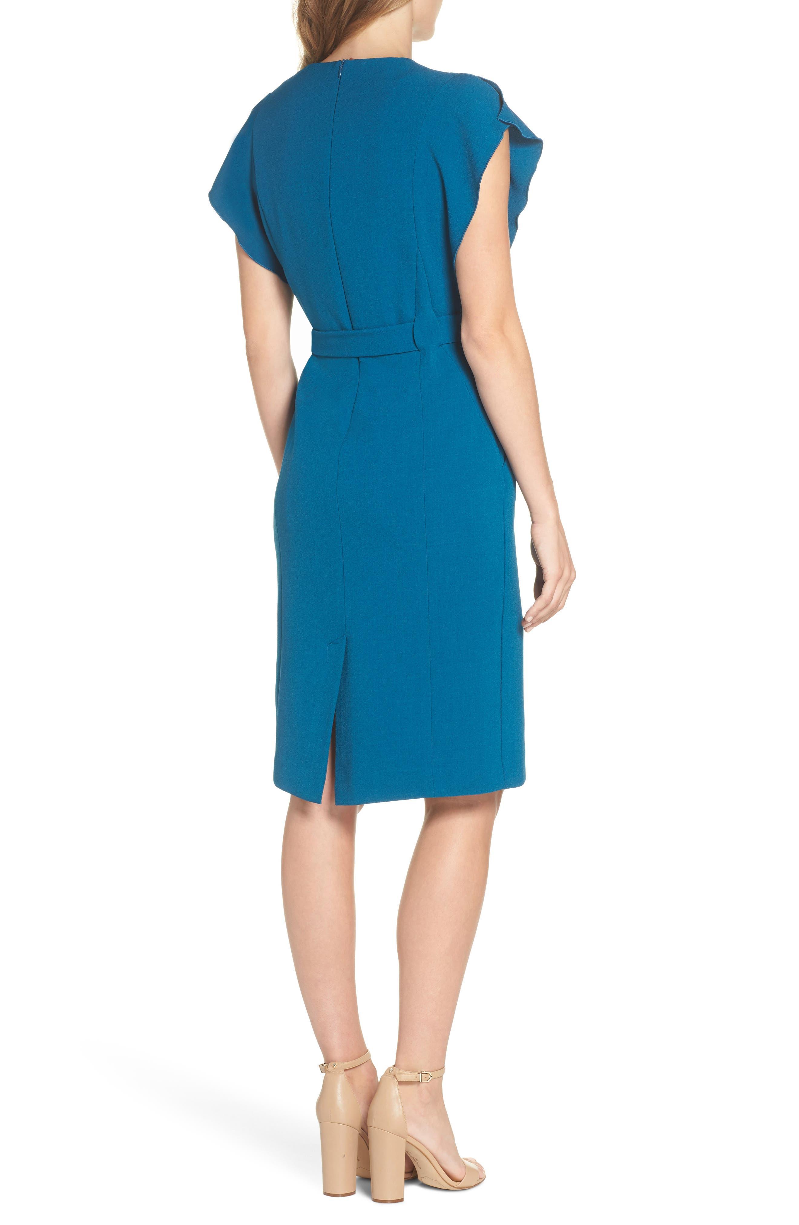 Ruffle Sleeve Sheath Dress,                             Alternate thumbnail 2, color,                             TEAL