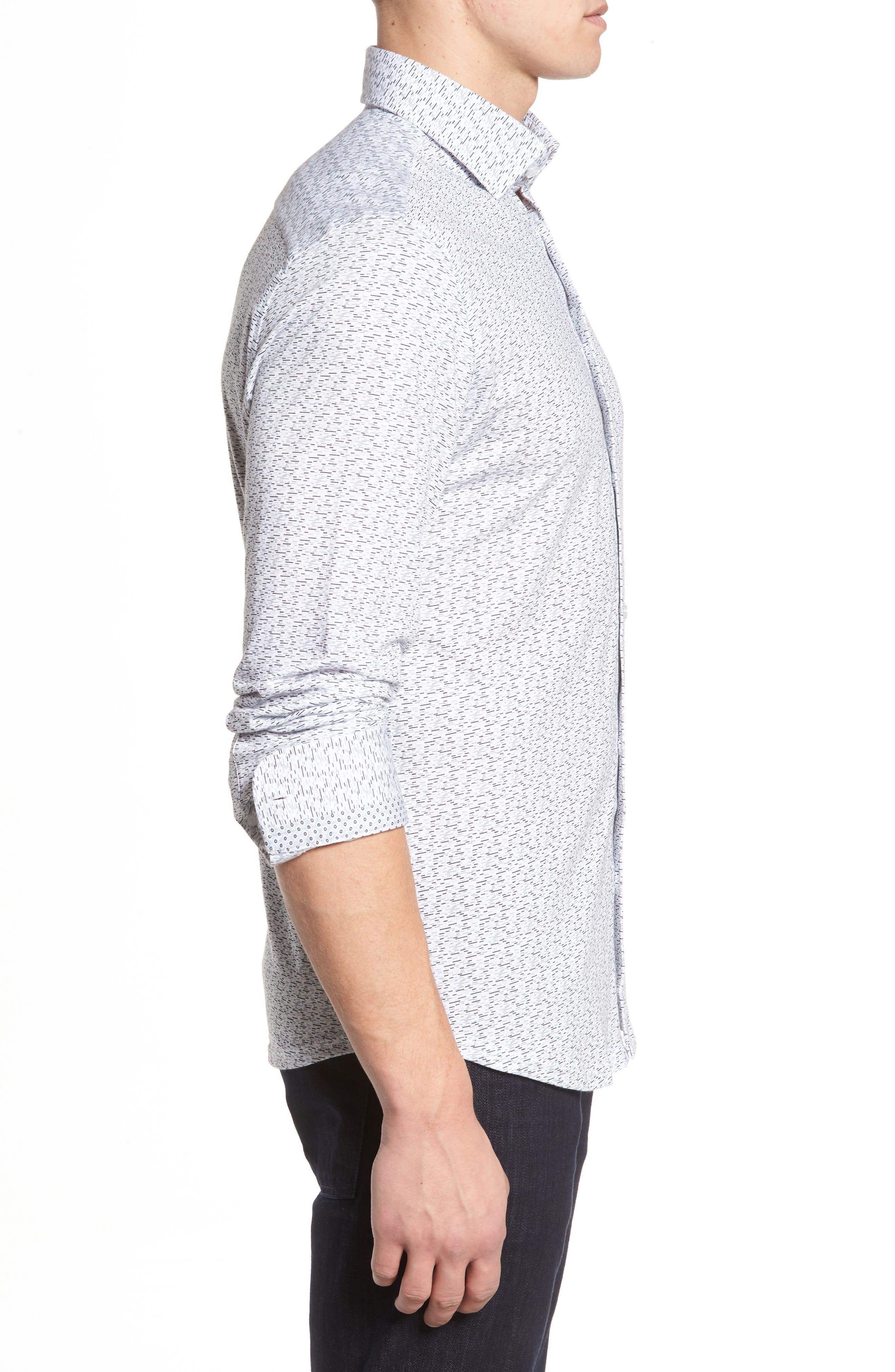 Slim Fit Print Knit Sport Shirt,                             Alternate thumbnail 3, color,                             001
