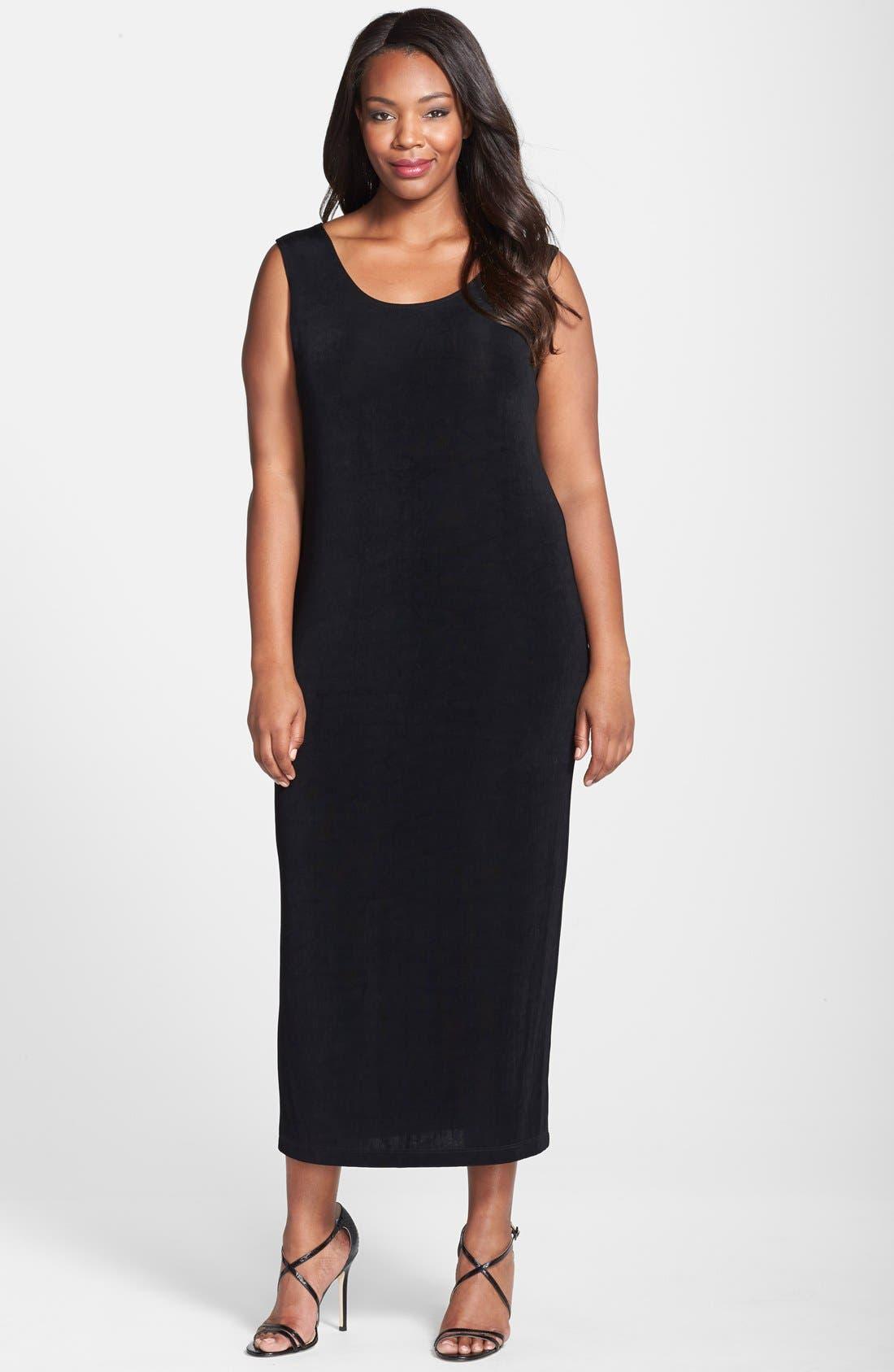 Sleeveless Maxi Tank Dress,                         Main,                         color, BLACK