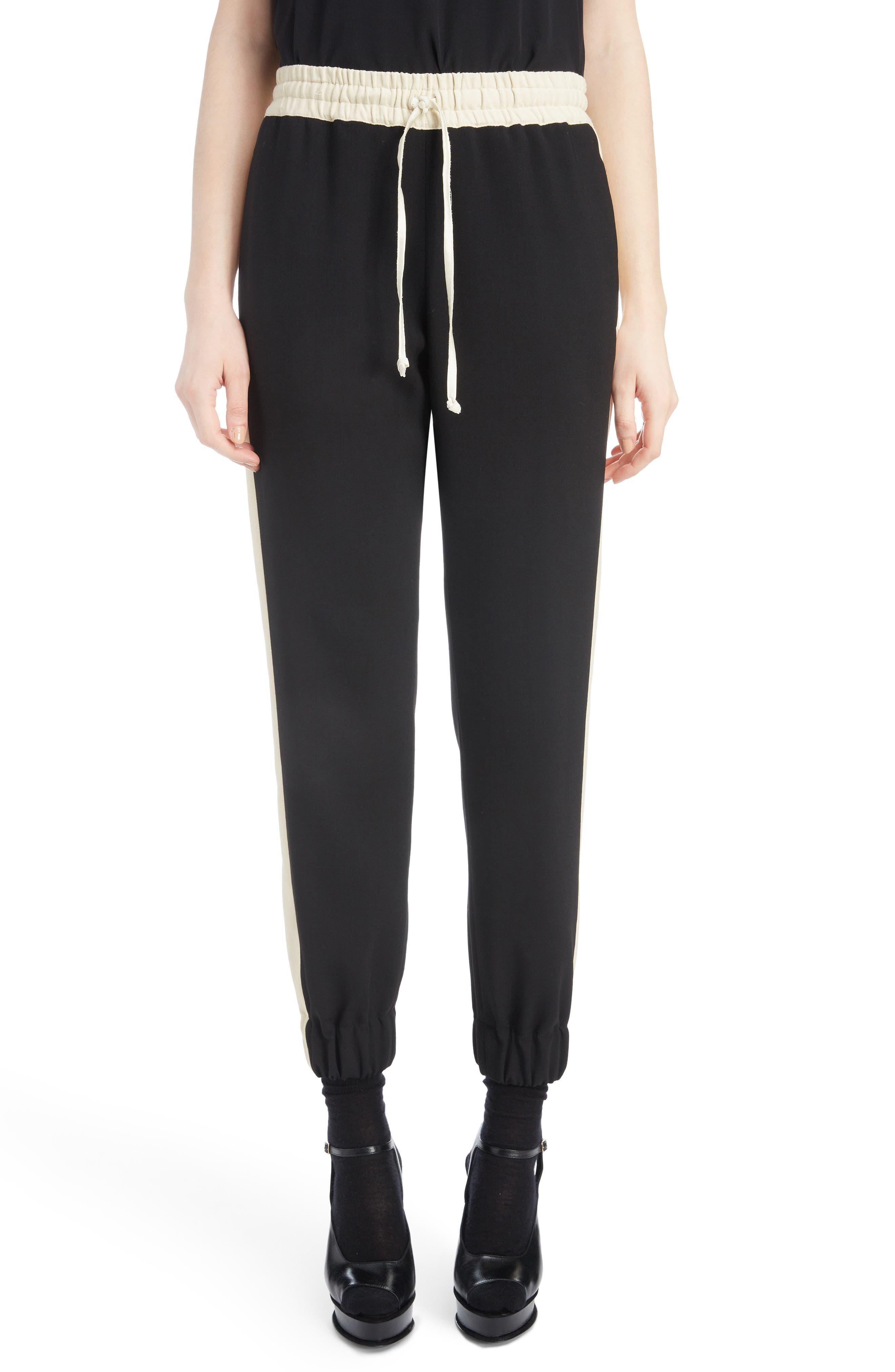 Contrast Stripe Track Pants,                         Main,                         color, BLACK