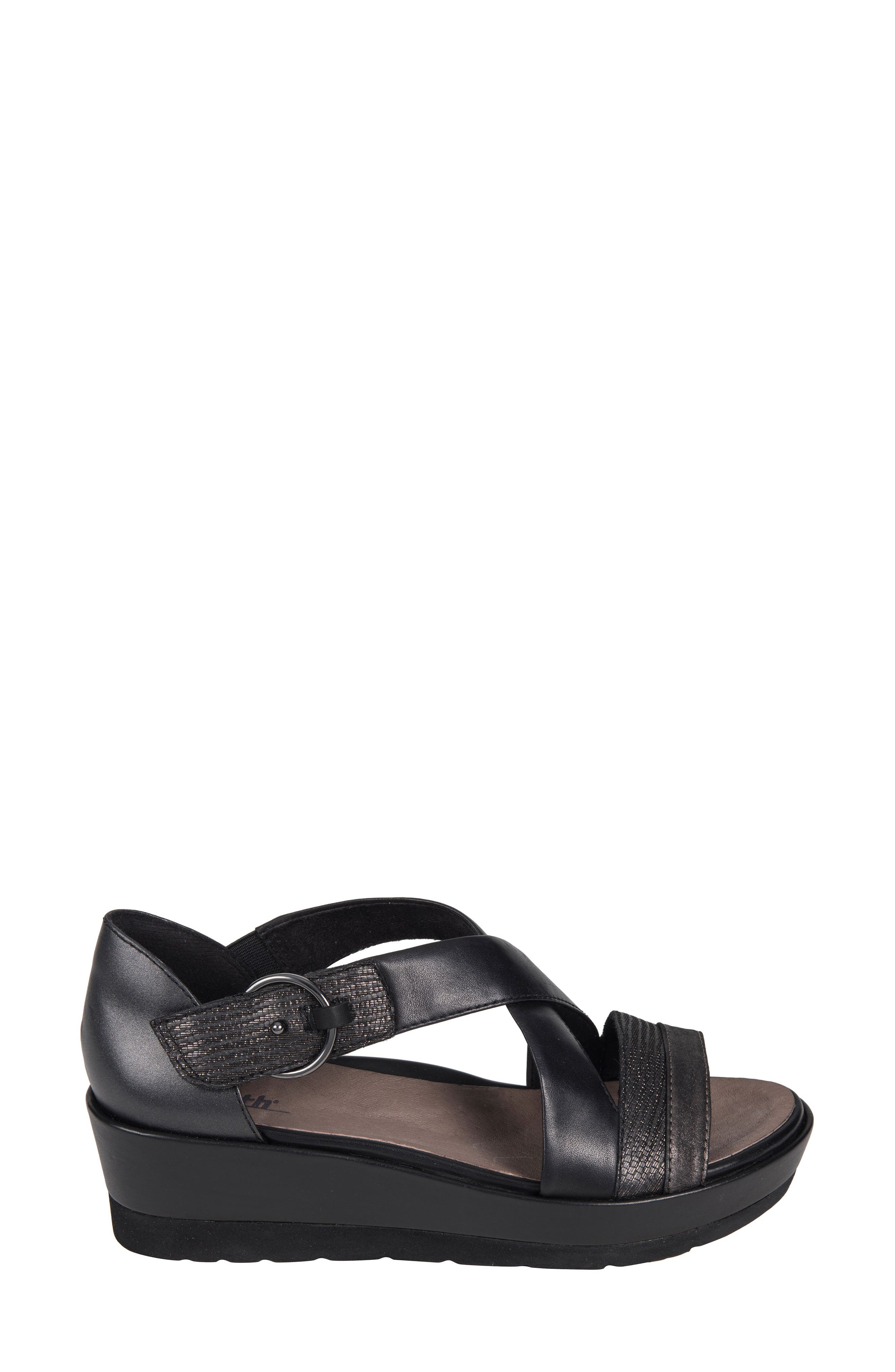 Hibiscus Sandal,                             Alternate thumbnail 3, color,                             BLACK LEATHER