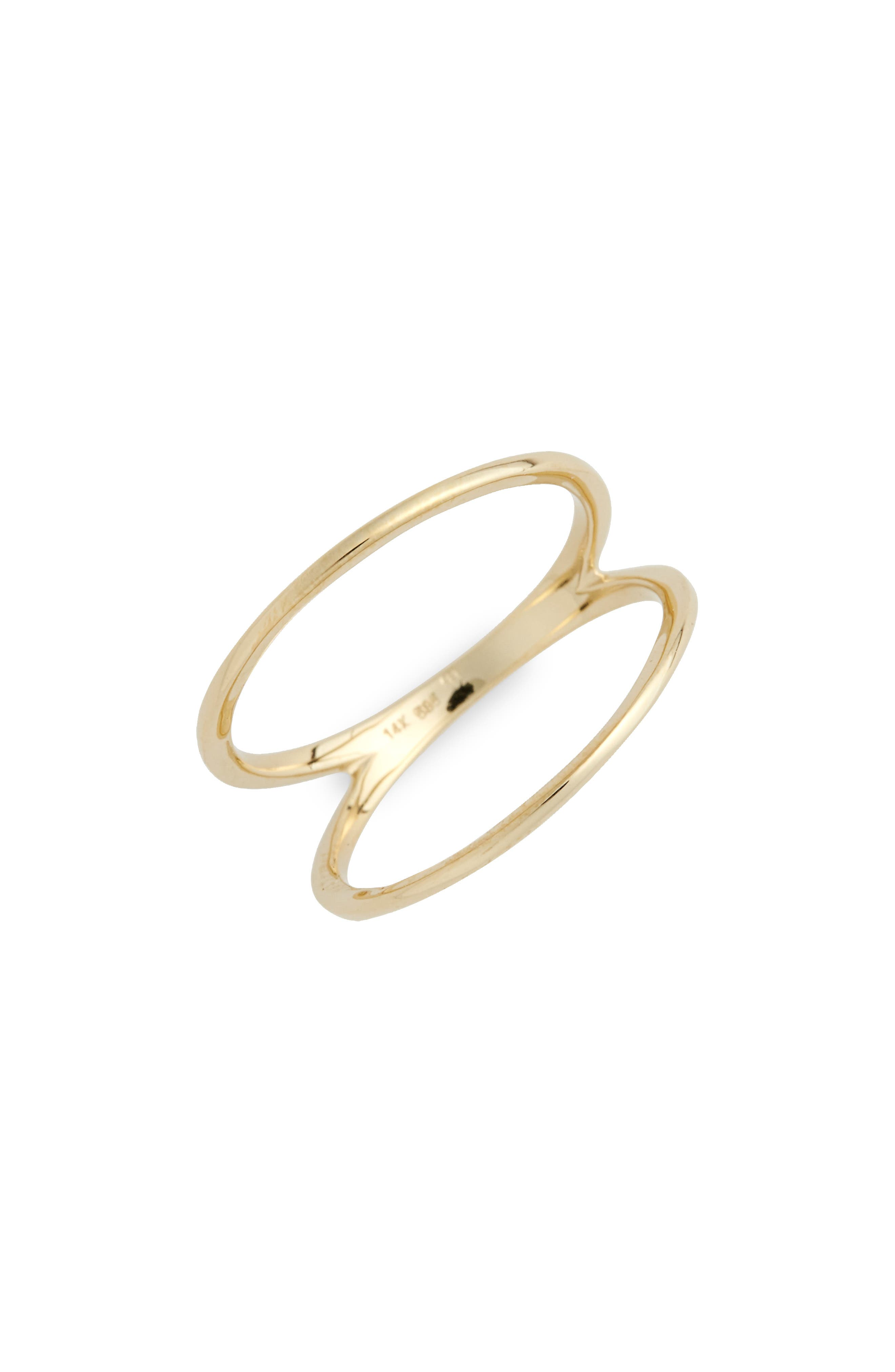 14KT Two Bar Ring,                         Main,                         color, YELLOW GOLD