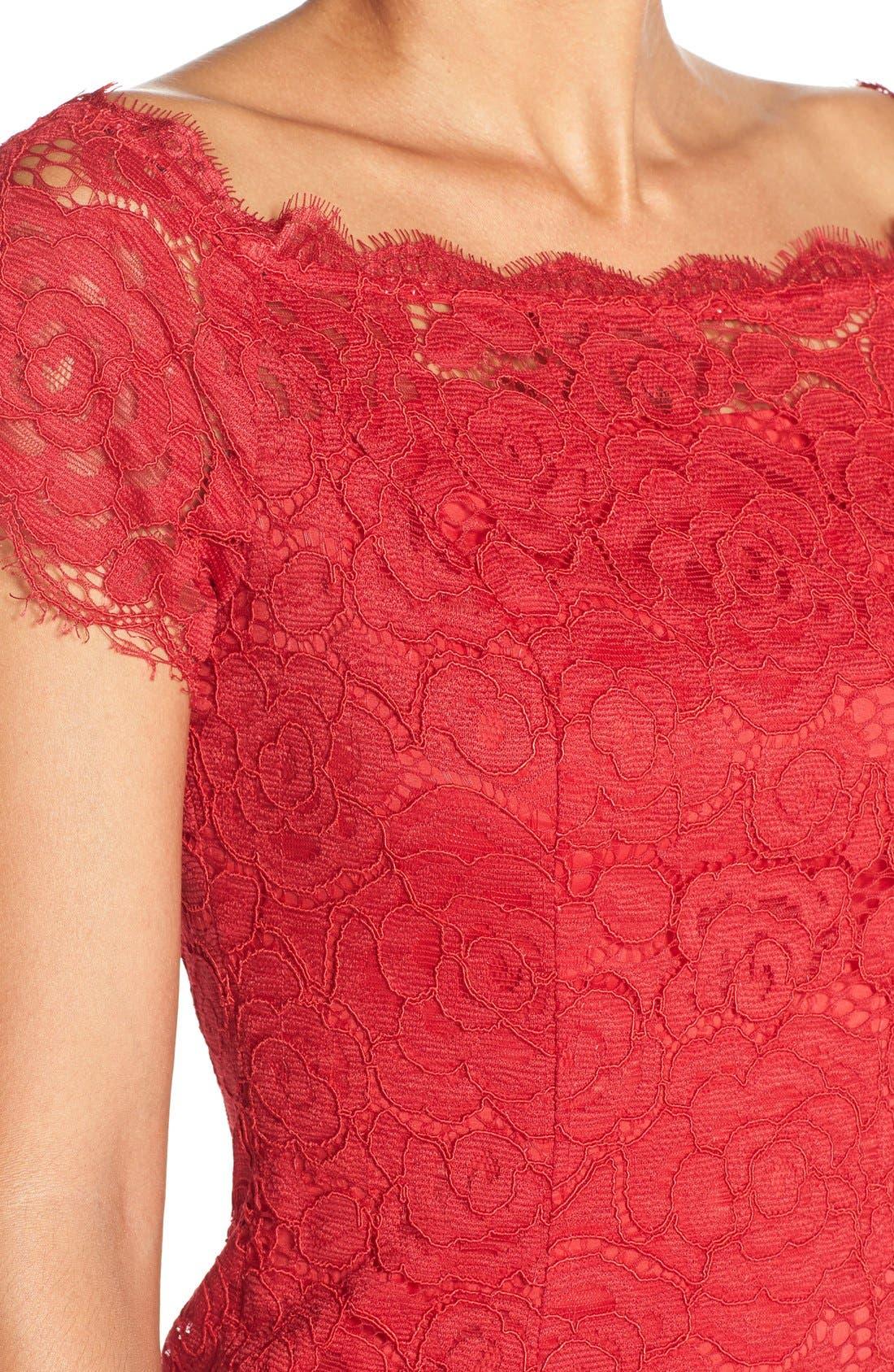 Off the Shoulder Lace Sheath Dress,                             Alternate thumbnail 11, color,