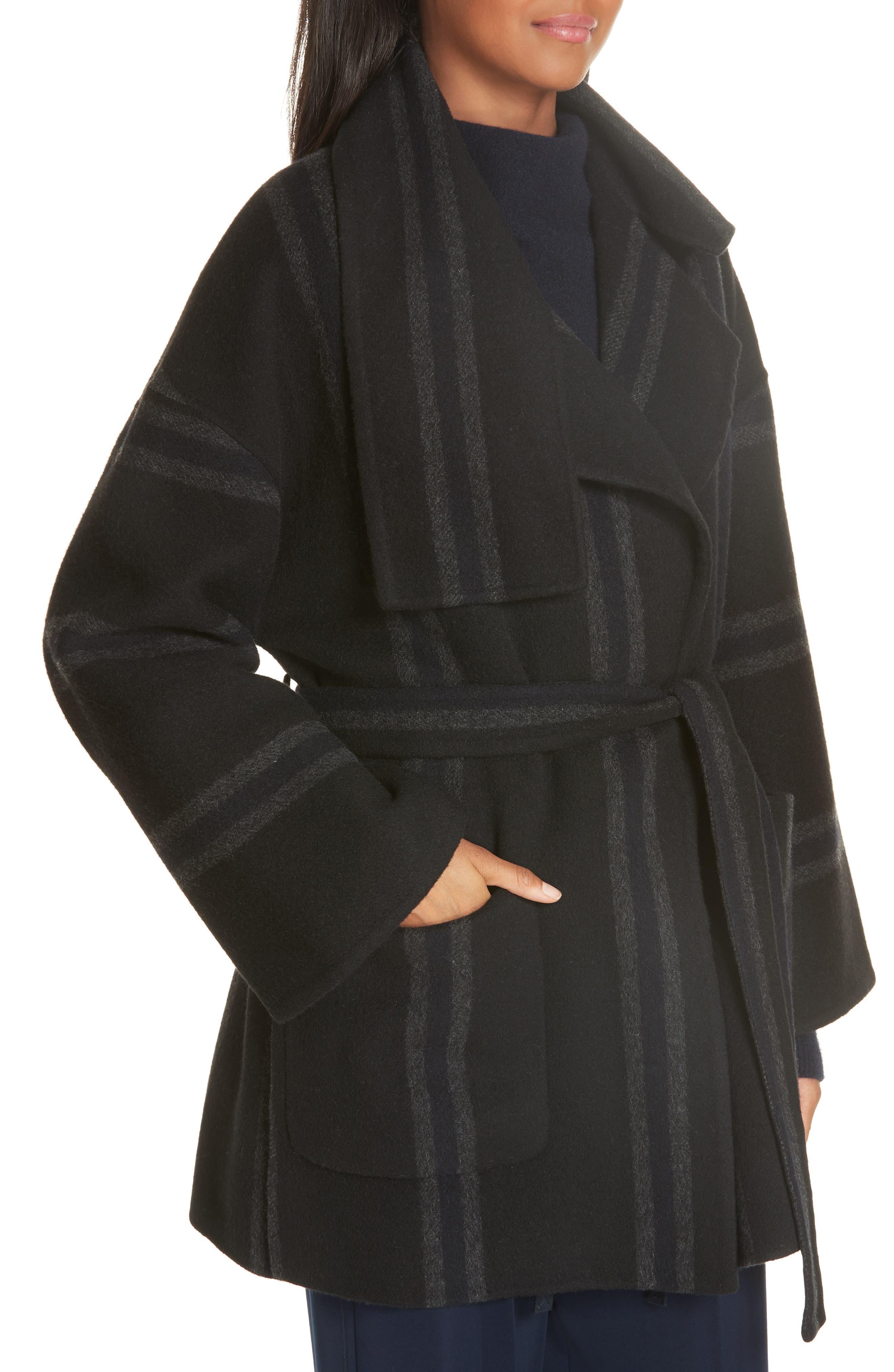 Stripe Blanket Coat,                             Alternate thumbnail 4, color,                             ONYX