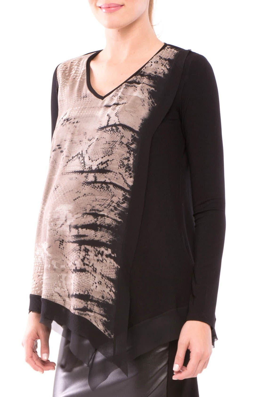 'Jolie' Print Asymmetrical Top,                             Main thumbnail 1, color,                             TAUPE/ BLACK PYTHON