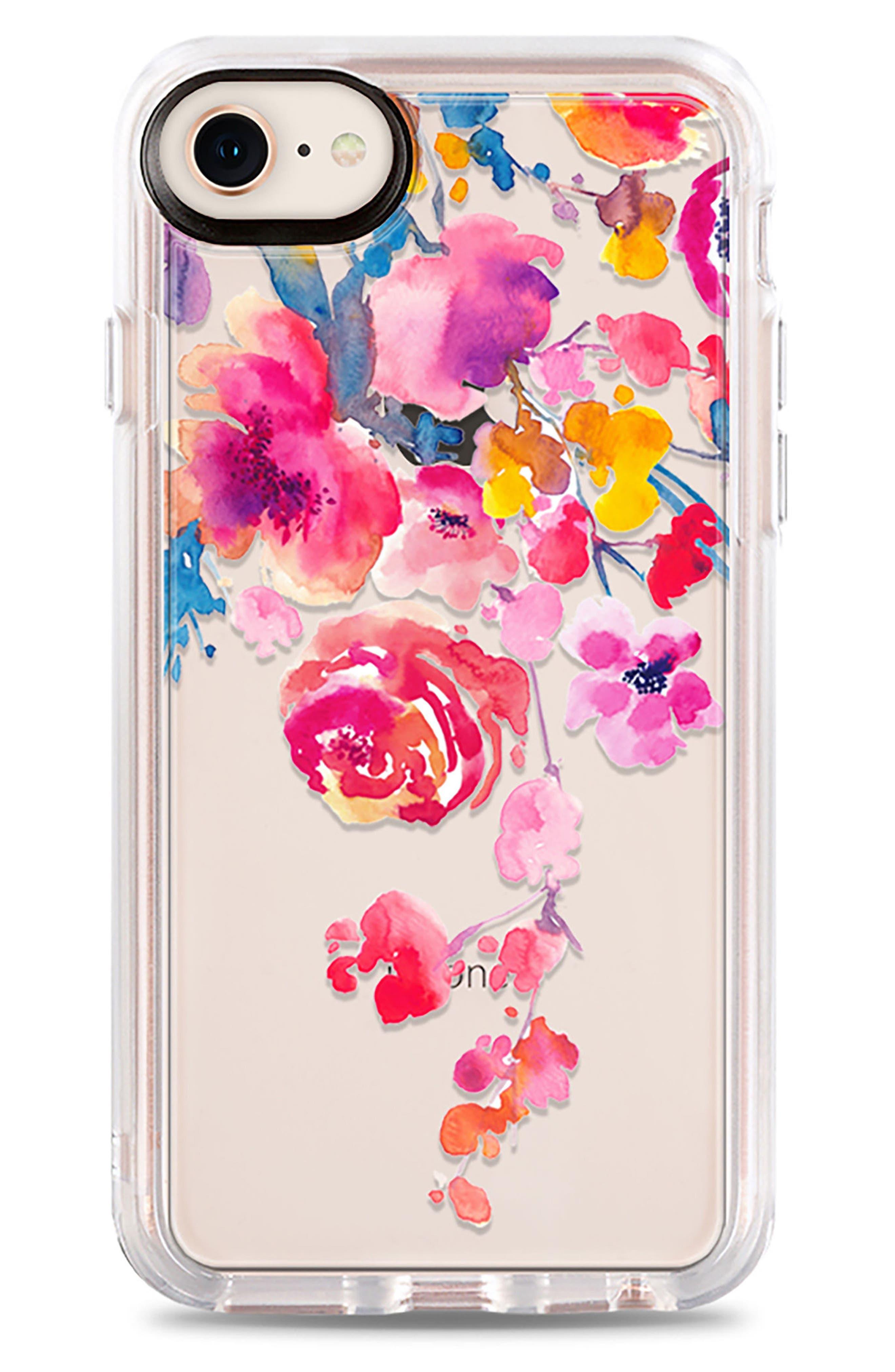 Watercolor Floral iPhone 7/8 & 7/8 Plus Case,                             Main thumbnail 1, color,                             PINK MULTI