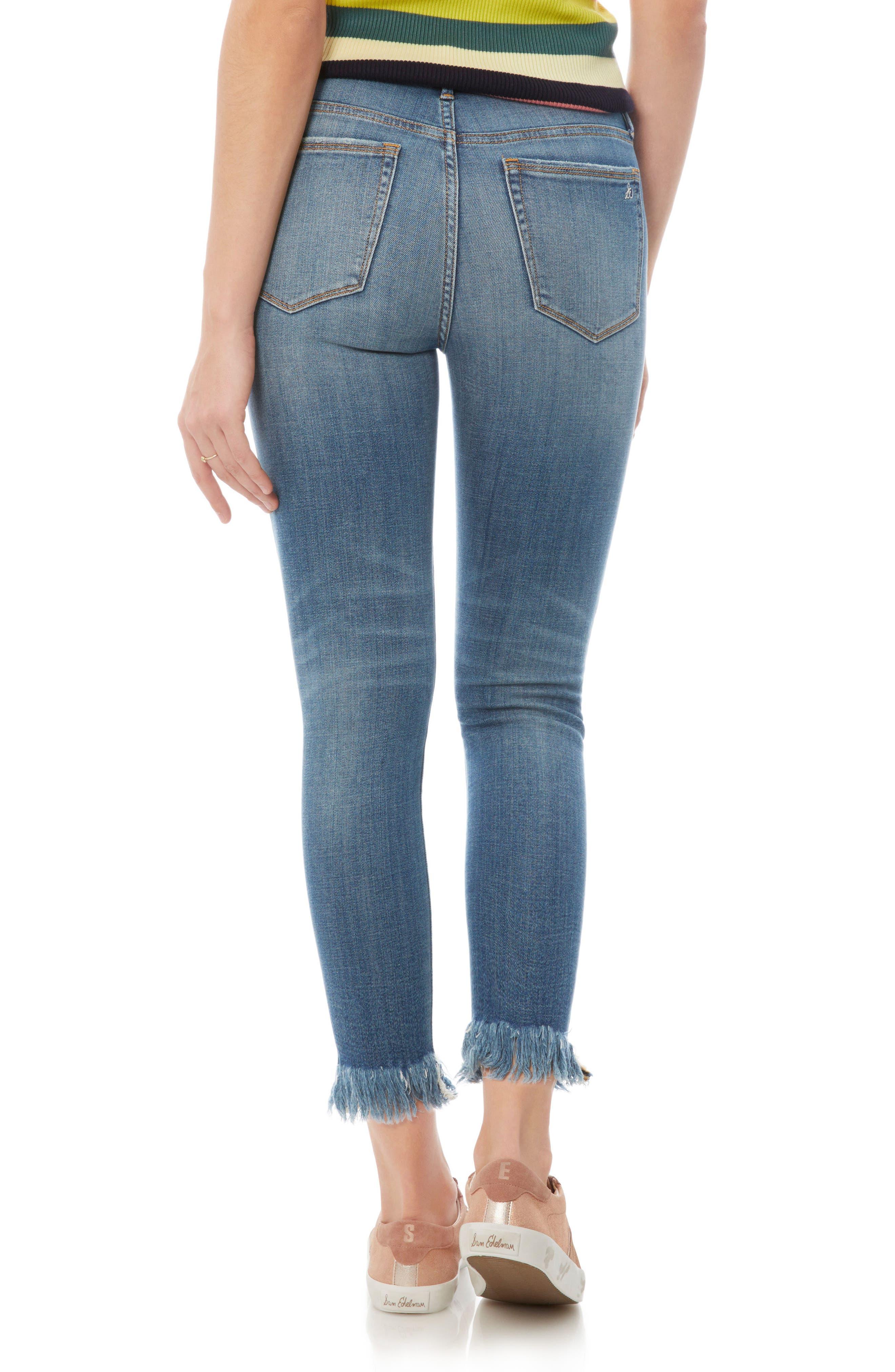 The Stiletto Fringe Hem Crop Jeans,                             Alternate thumbnail 2, color,                             410