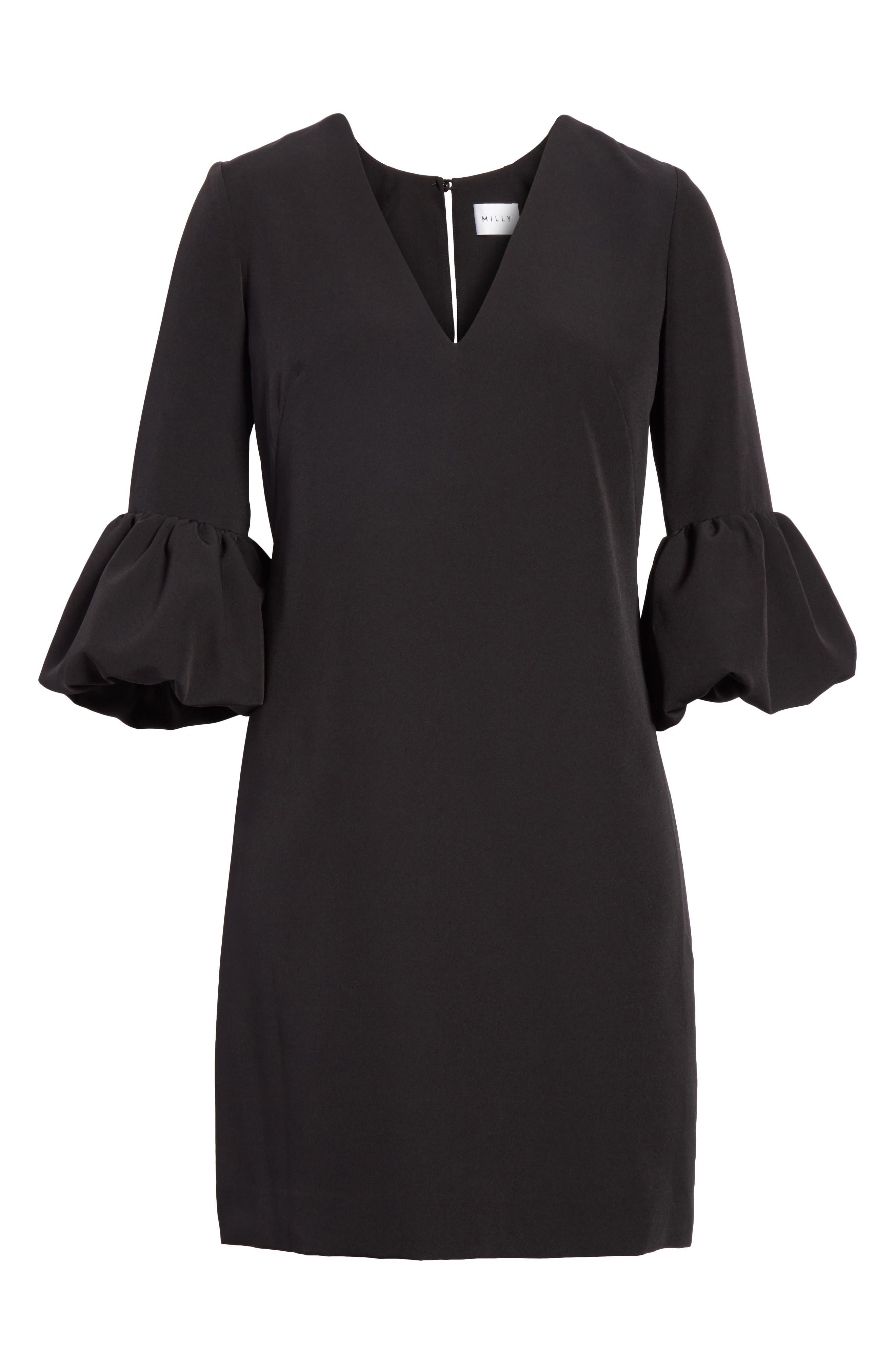 Mandy Ruffle Cuff Shift Dress,                             Alternate thumbnail 7, color,                             001