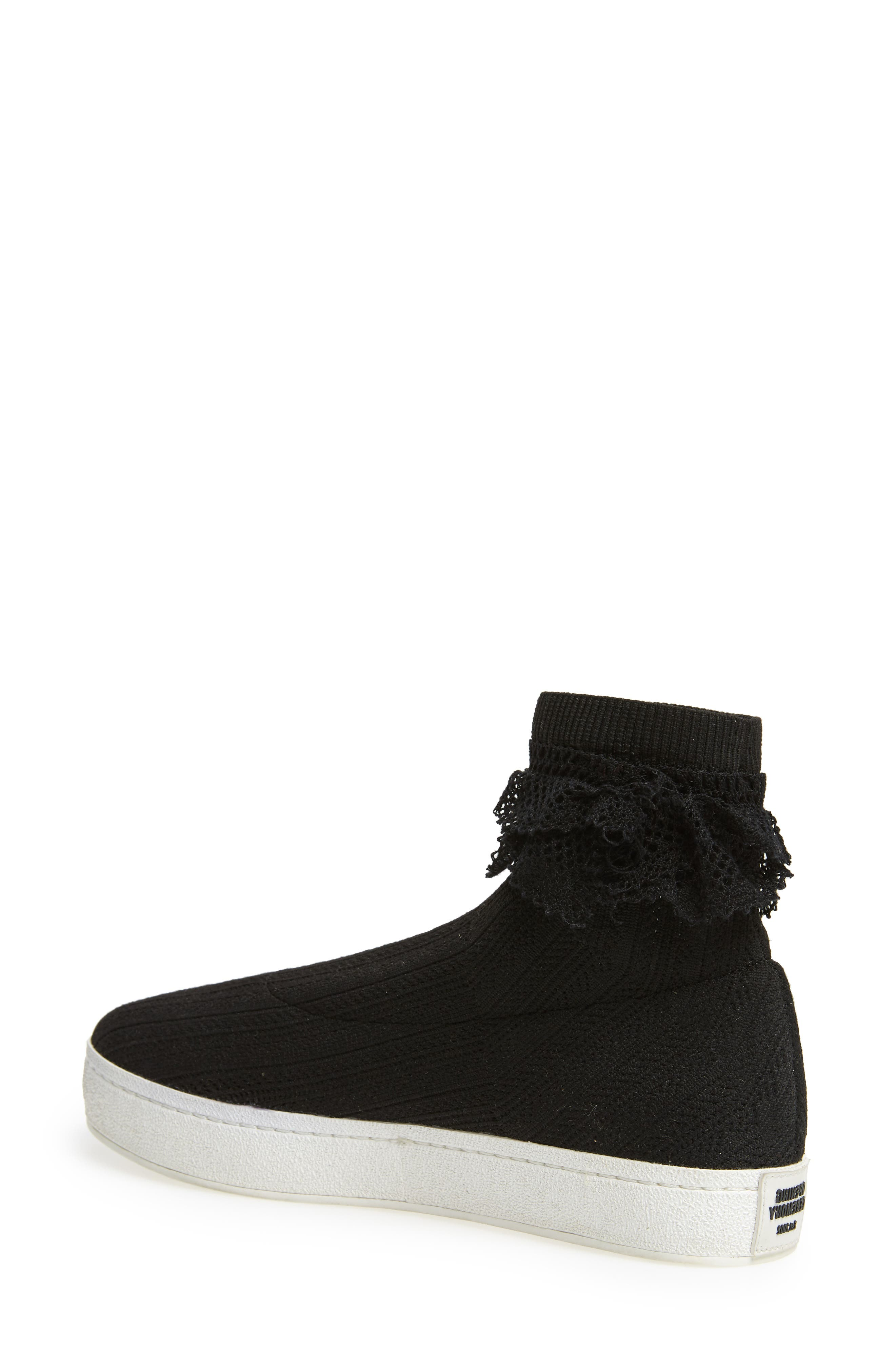 Bobby Sock Knit Sneaker,                             Alternate thumbnail 2, color,                             BLACK