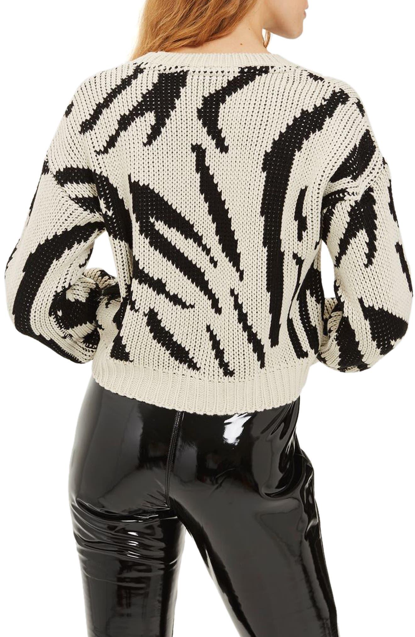 Fringe Zebra Print Sweater,                             Alternate thumbnail 2, color,                             001