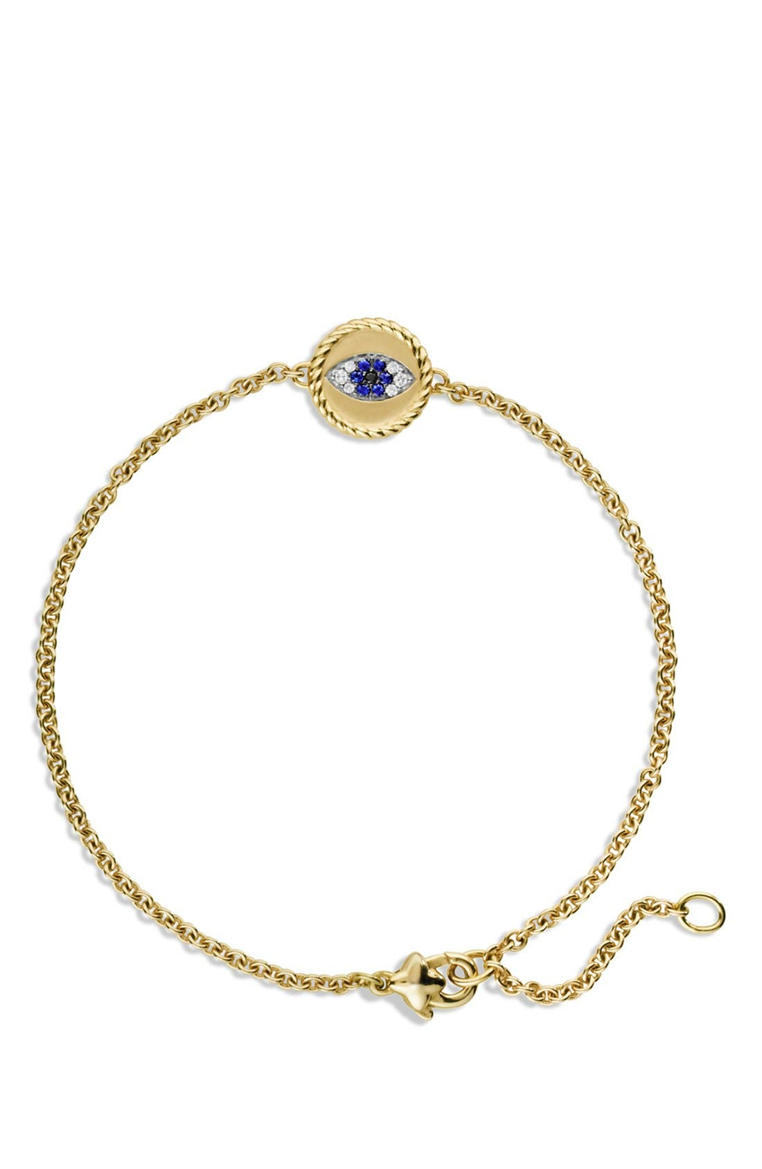 'Cable Collectibles' Pavé Evil Eye Charm with Blue Sapphire, Diamonds and Black Diamonds in Gold,                             Alternate thumbnail 3, color,                             BLUE SAPPHIRE/ DIAMOND