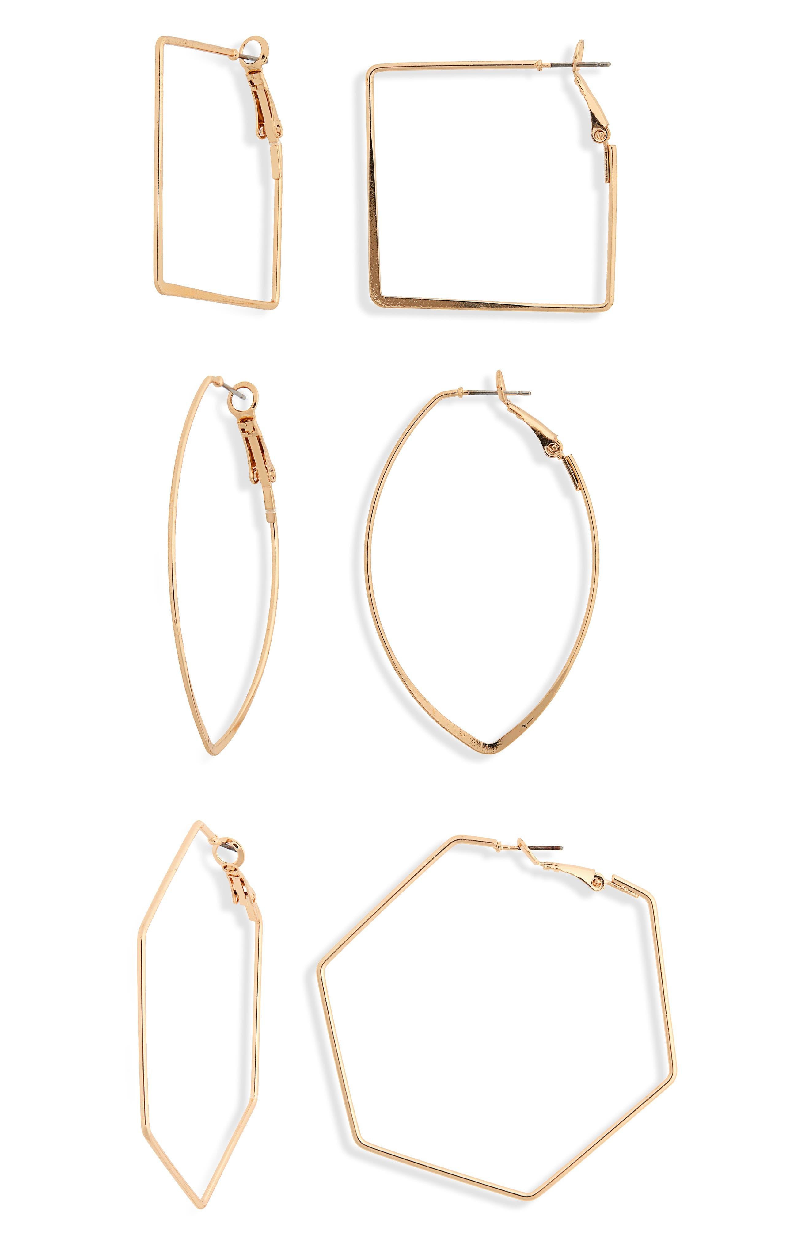 3-Pack Geo Hoop Earrings,                         Main,                         color, 710