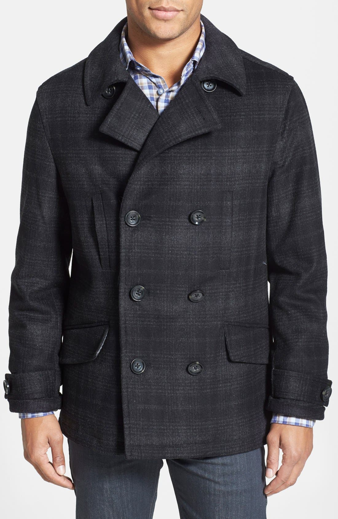'Fettes' Regular Fit Double Breasted Check Wool Blend Peacoat, Main, color, 001