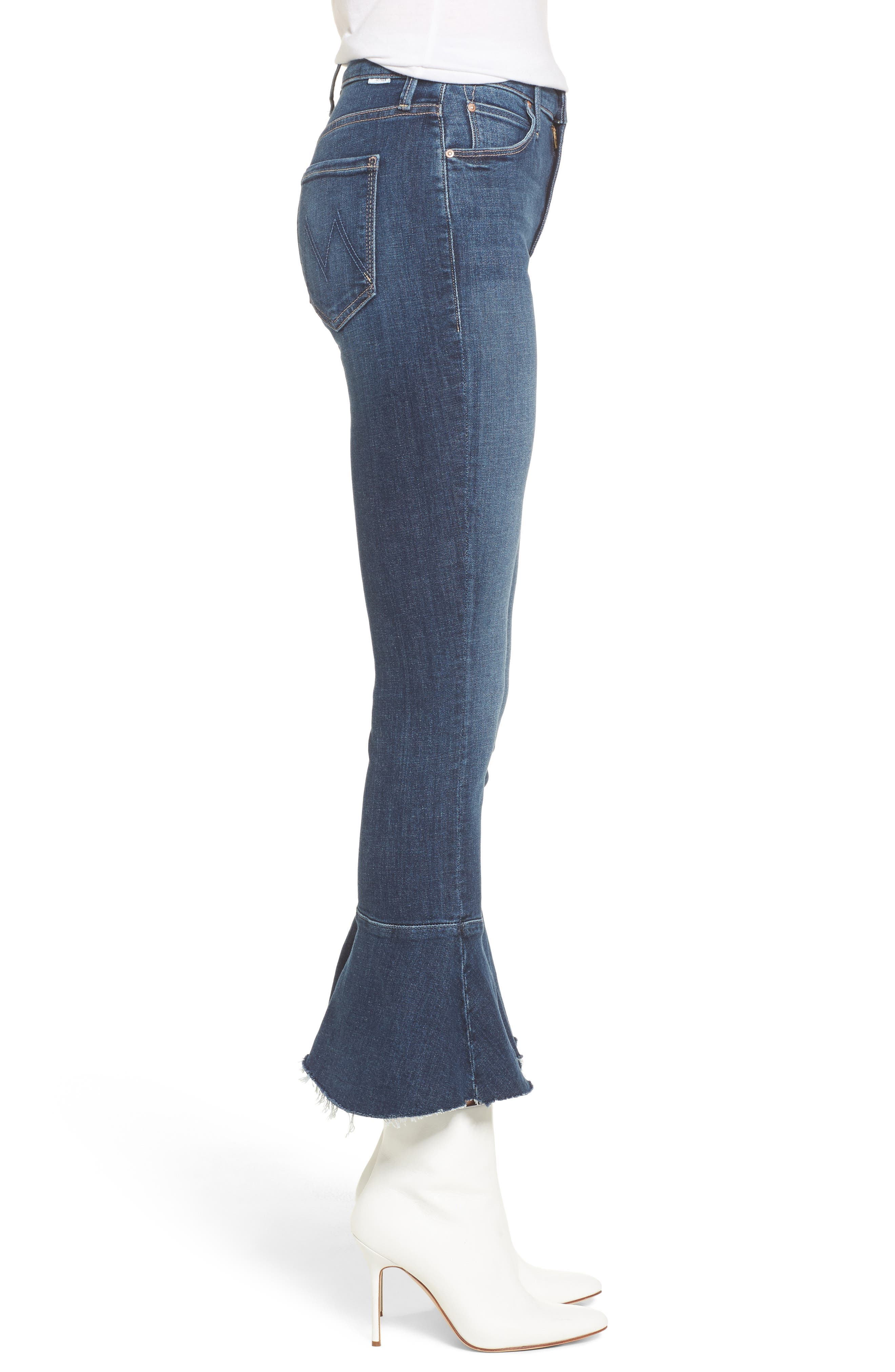 The Cha Cha Fray Flare Crop Jeans,                             Alternate thumbnail 3, color,                             GIRL CRUSH