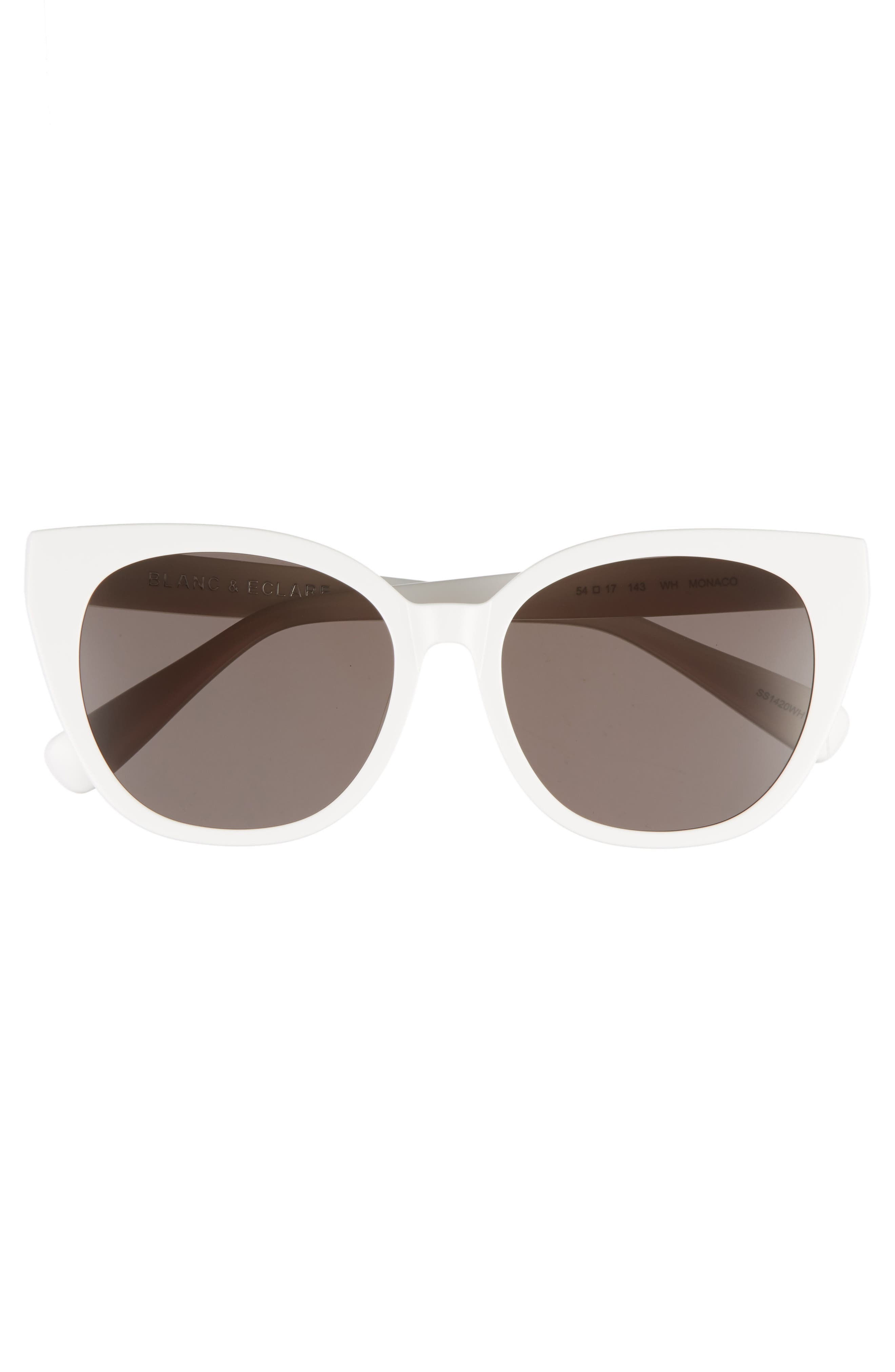 BLANC & ECLARE Monaco 54mm Cat Eye Sunglasses,                             Alternate thumbnail 3, color,                             SNOW/ SMOG GREY