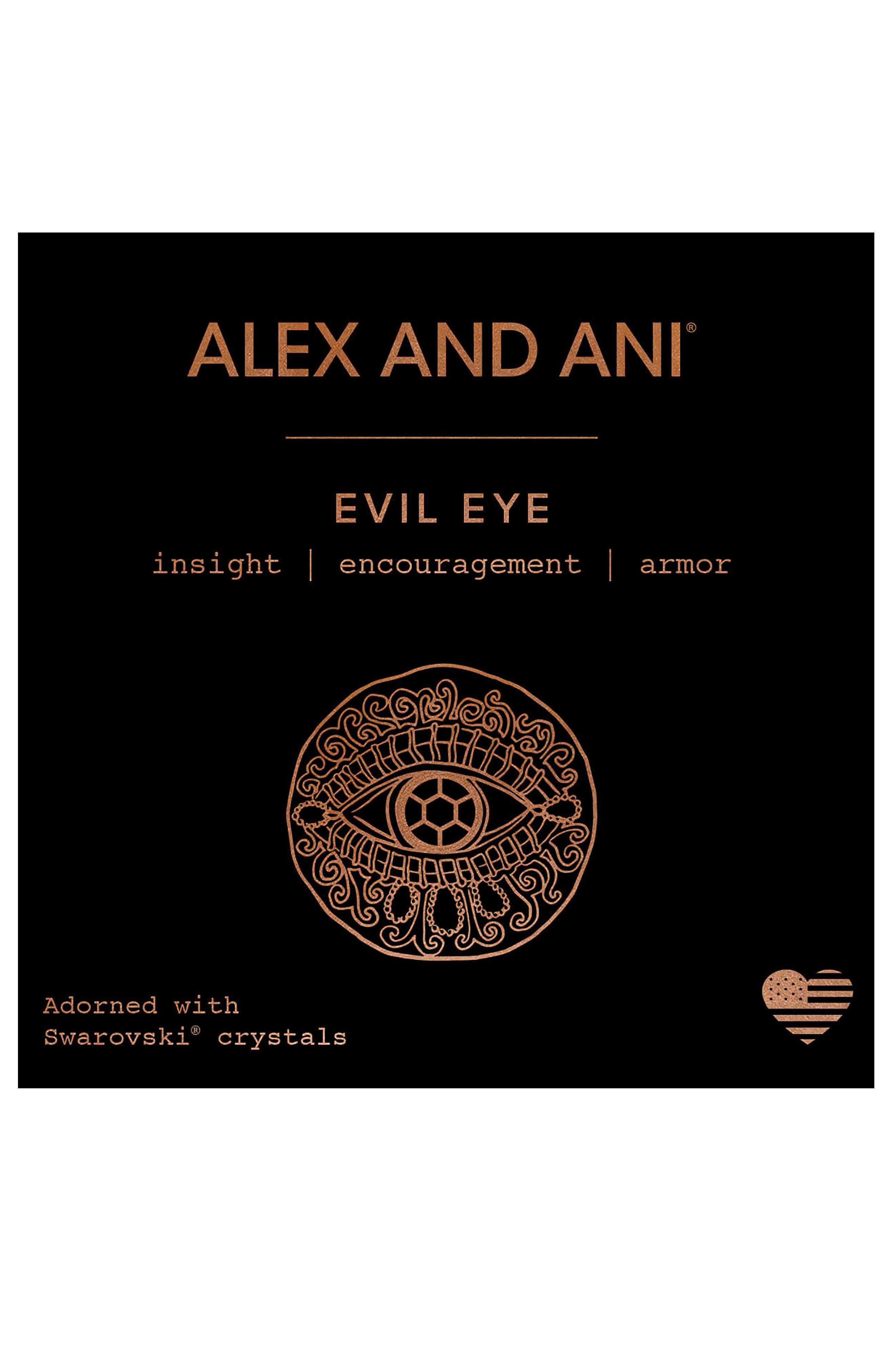 Evil Eye Adjustable Wire Bangle,                             Alternate thumbnail 3, color,                             ROSE GOLD