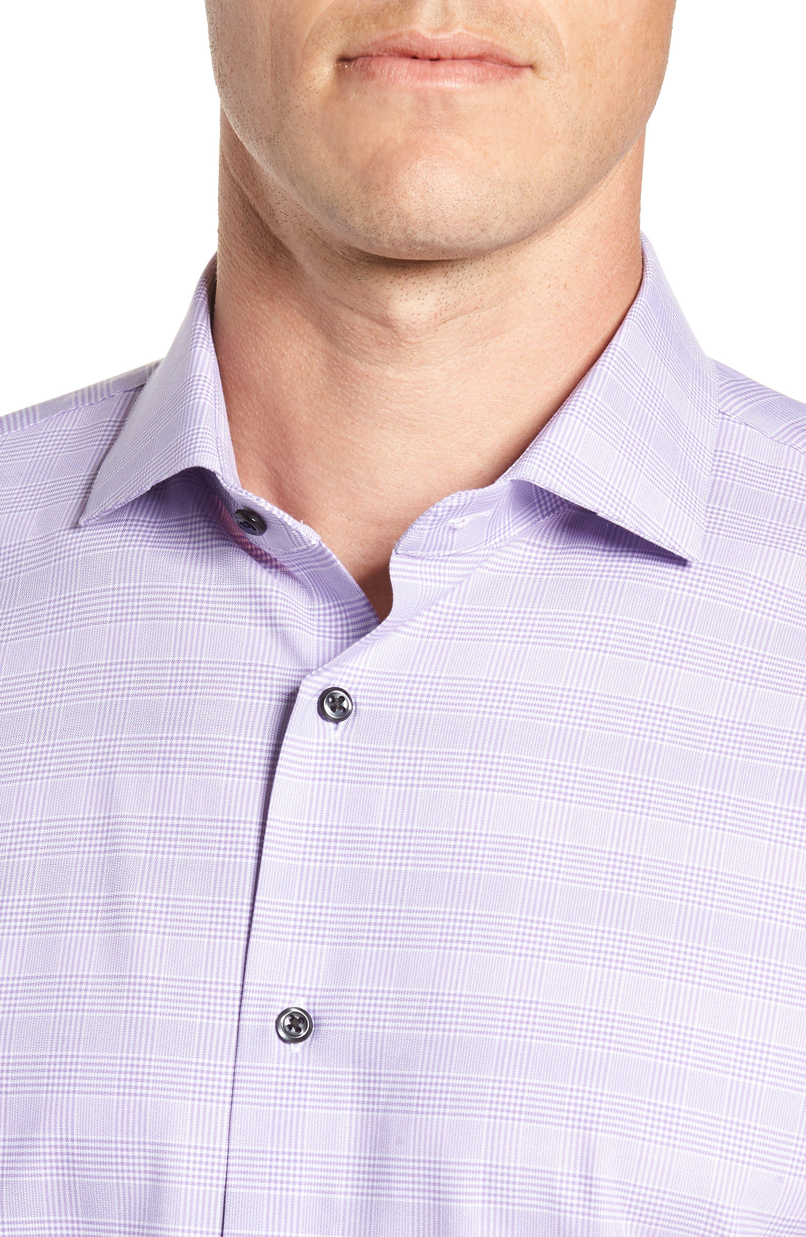 Tech-Smart Trim Fit Stretch Plaid Dress Shirt,                             Alternate thumbnail 7, color,